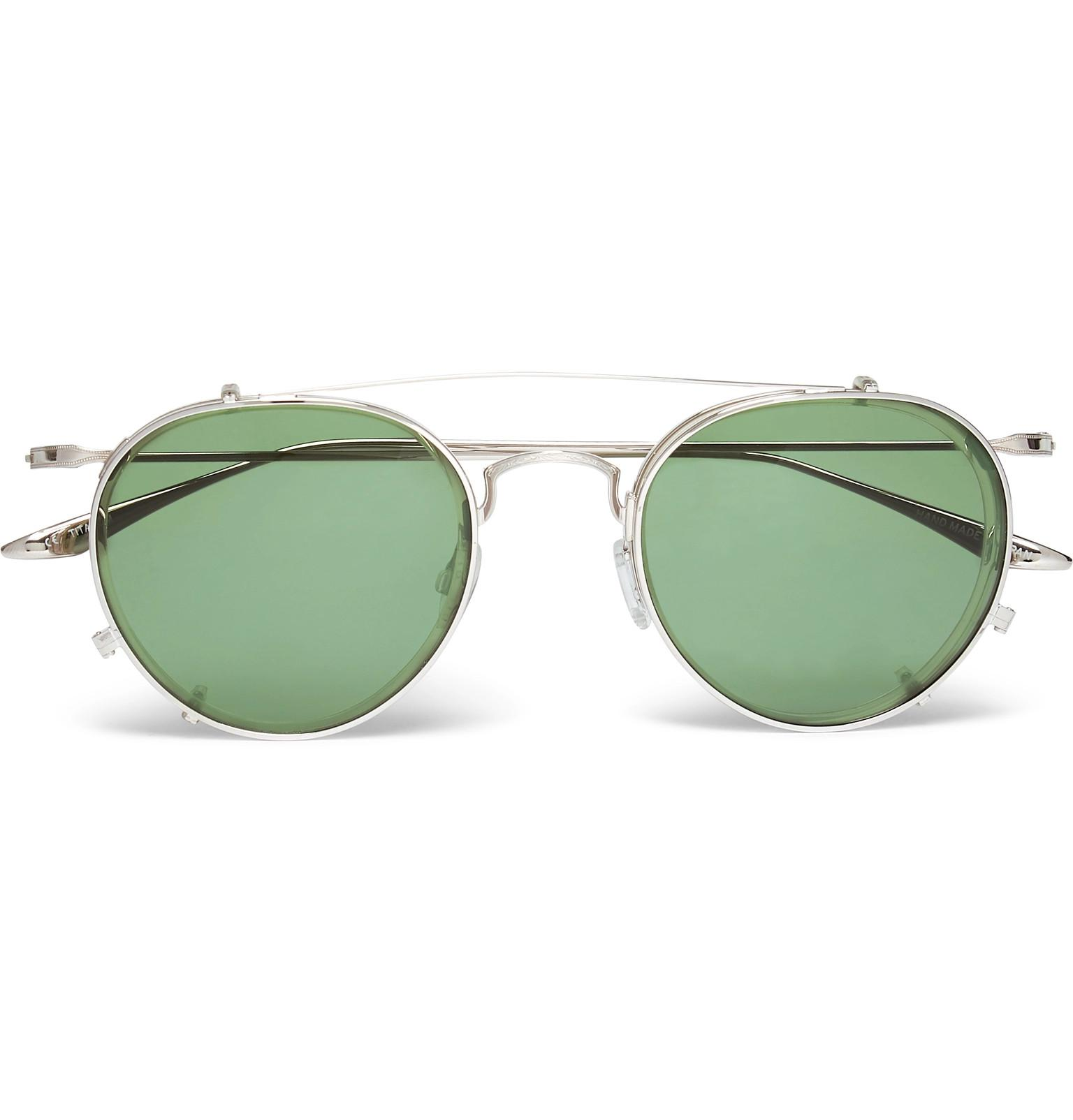a7e1b0366d Barton Perreira. Men s Metallic Aalto Round-frame Titanium And Acetate  Optical Glasses With Clip-on Aviator-style ...