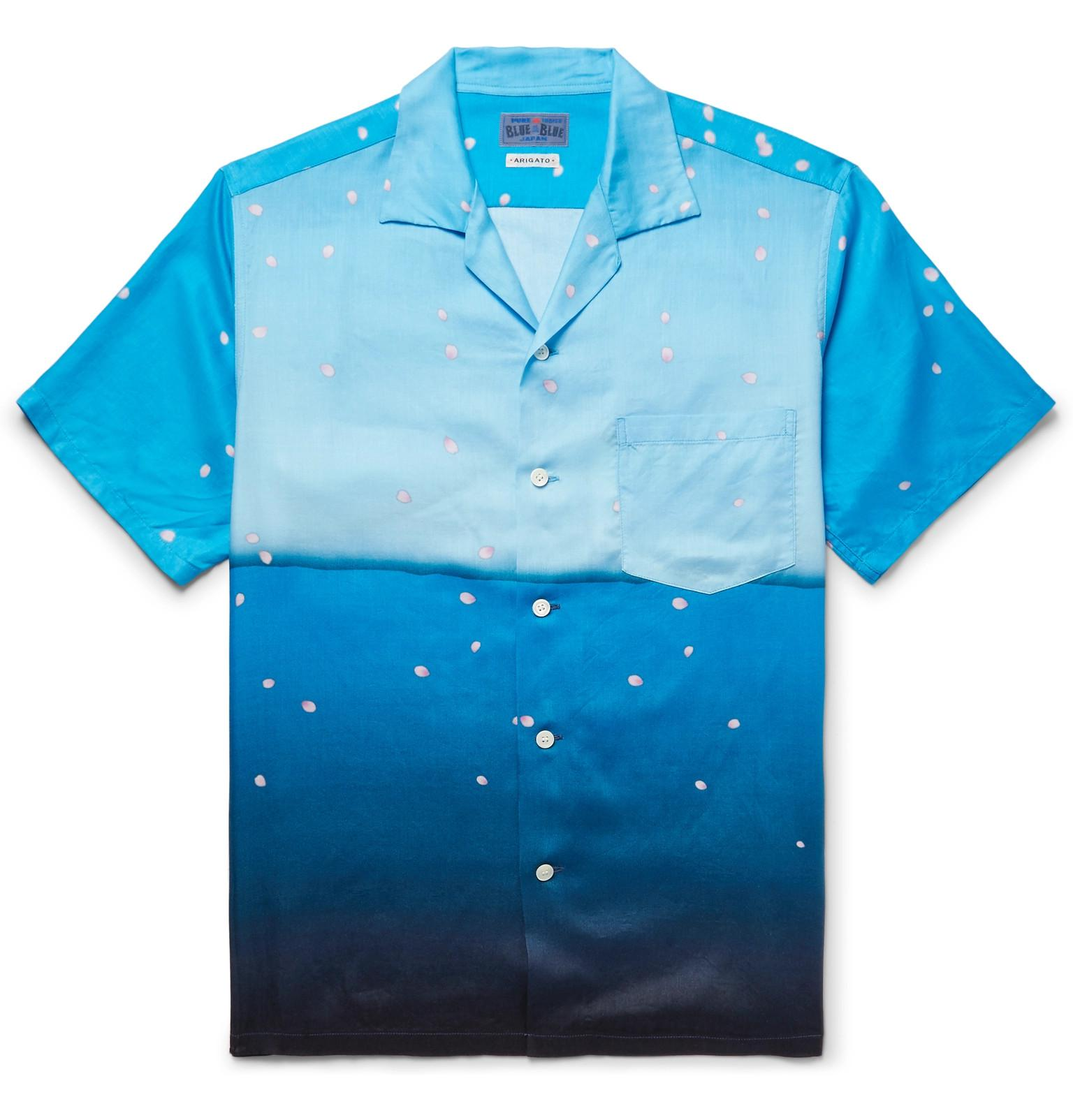 Slim-fit Camp-collar Printed Cotton-gauze Shirt Blue Blue Japan Buy Cheap Deals Cheap Fast Delivery Sale Collections Free Shipping Excellent iZ5hzJI9Z