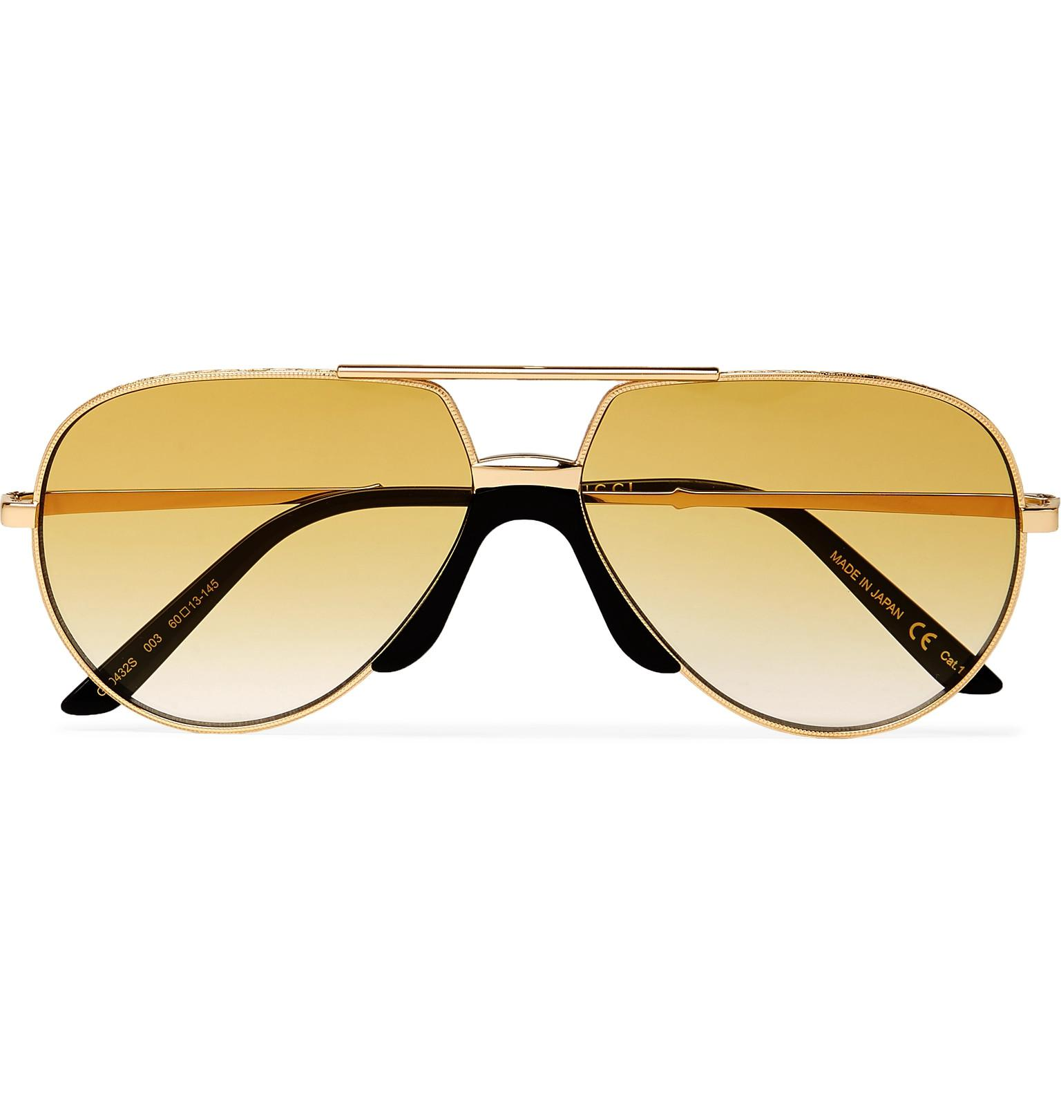 91d7a2565f18 Lyst - Gucci Aviator-style Gold-tone Sunglasses in Metallic for Men