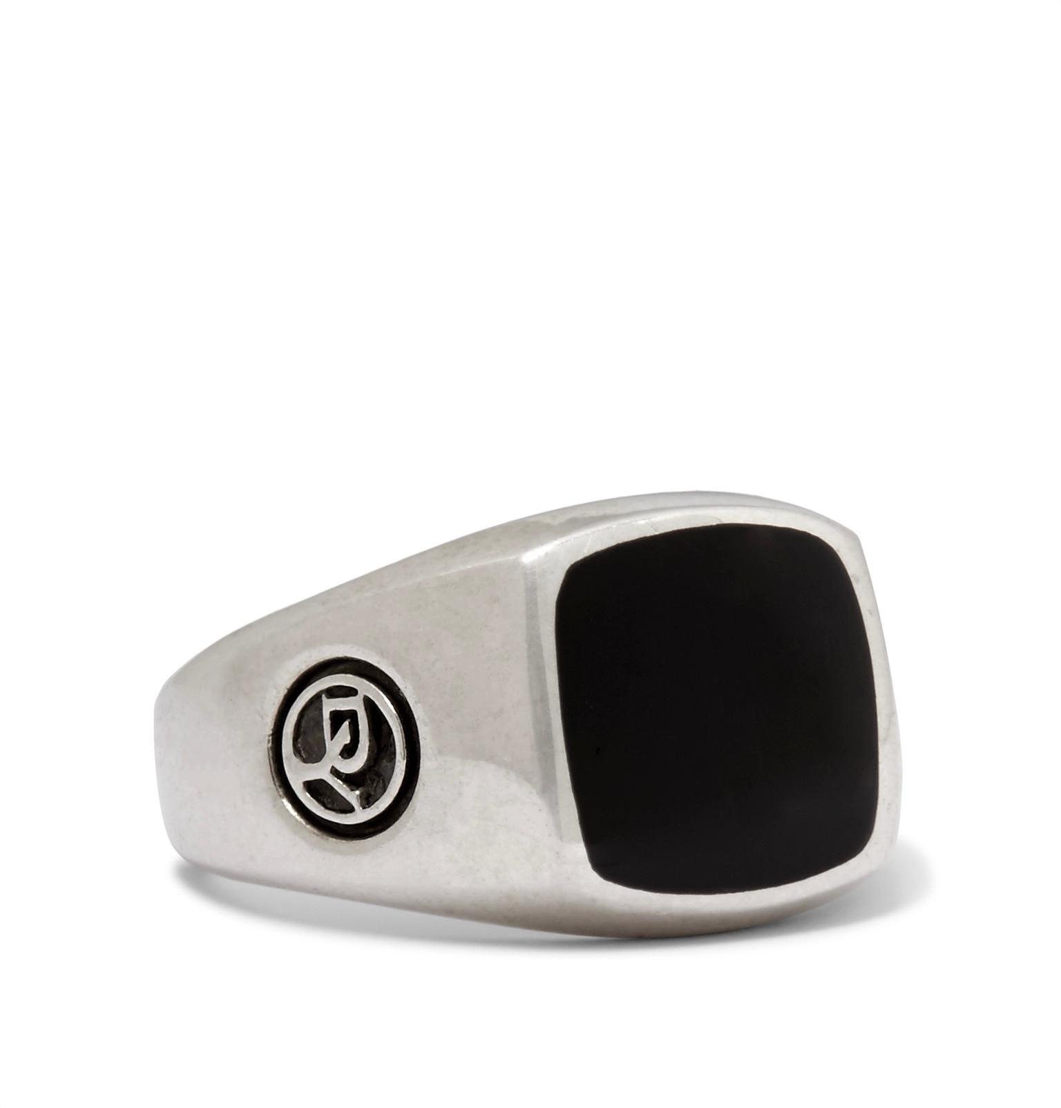 David Yurman Heirloom Sterling Silver Onyx Signet Ring - Black