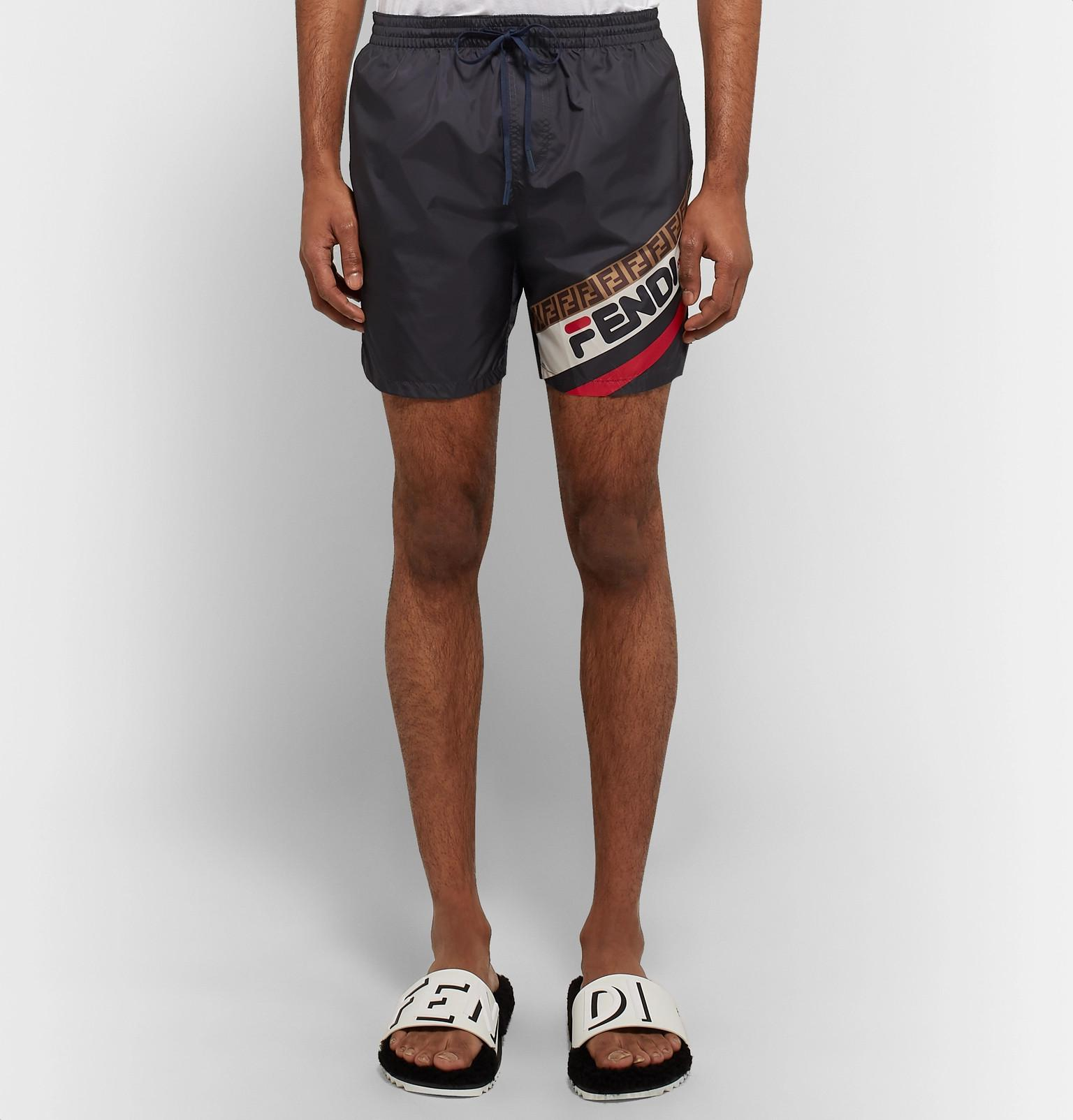 51b577a51d Fendi - Blue Slim-fit Short-length Logo-print Swim Shorts for Men. View  fullscreen
