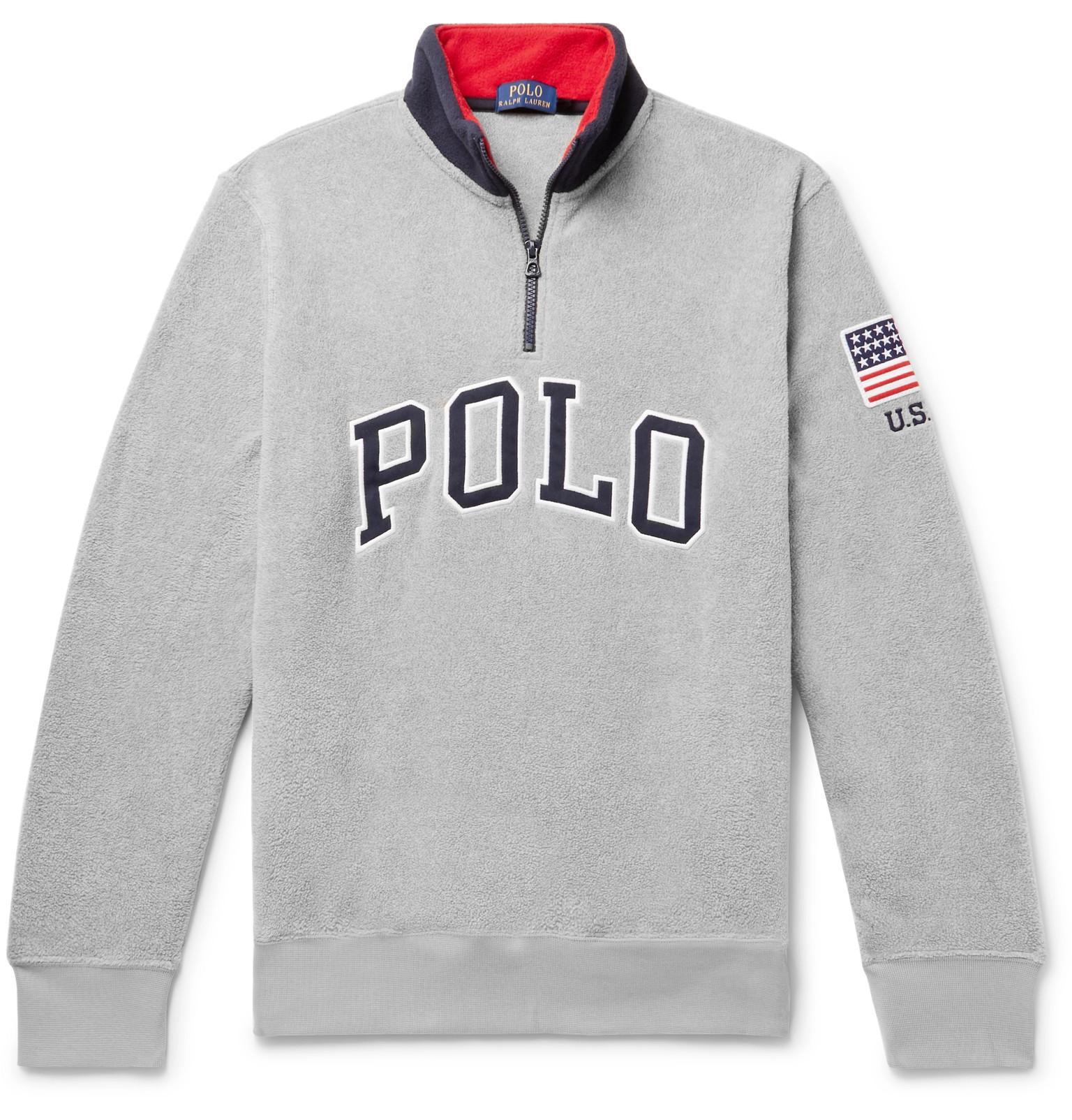 Polo Ralph Lauren Logo-appliquéd Fleece Half-zip Sweatshirt in Gray ... ae56c787401