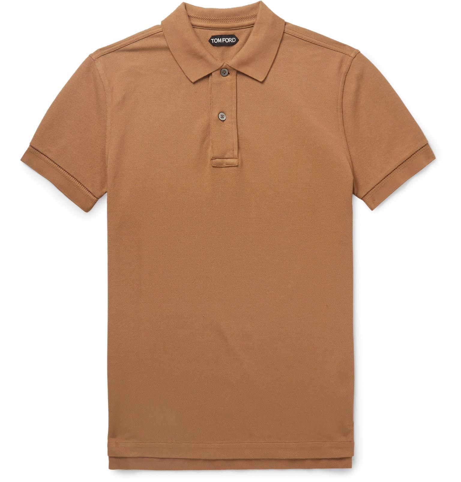 0c6b79a0 Tom Ford - Brown Garment-dyed Cotton-piqué Polo Shirt for Men - Lyst. View  fullscreen
