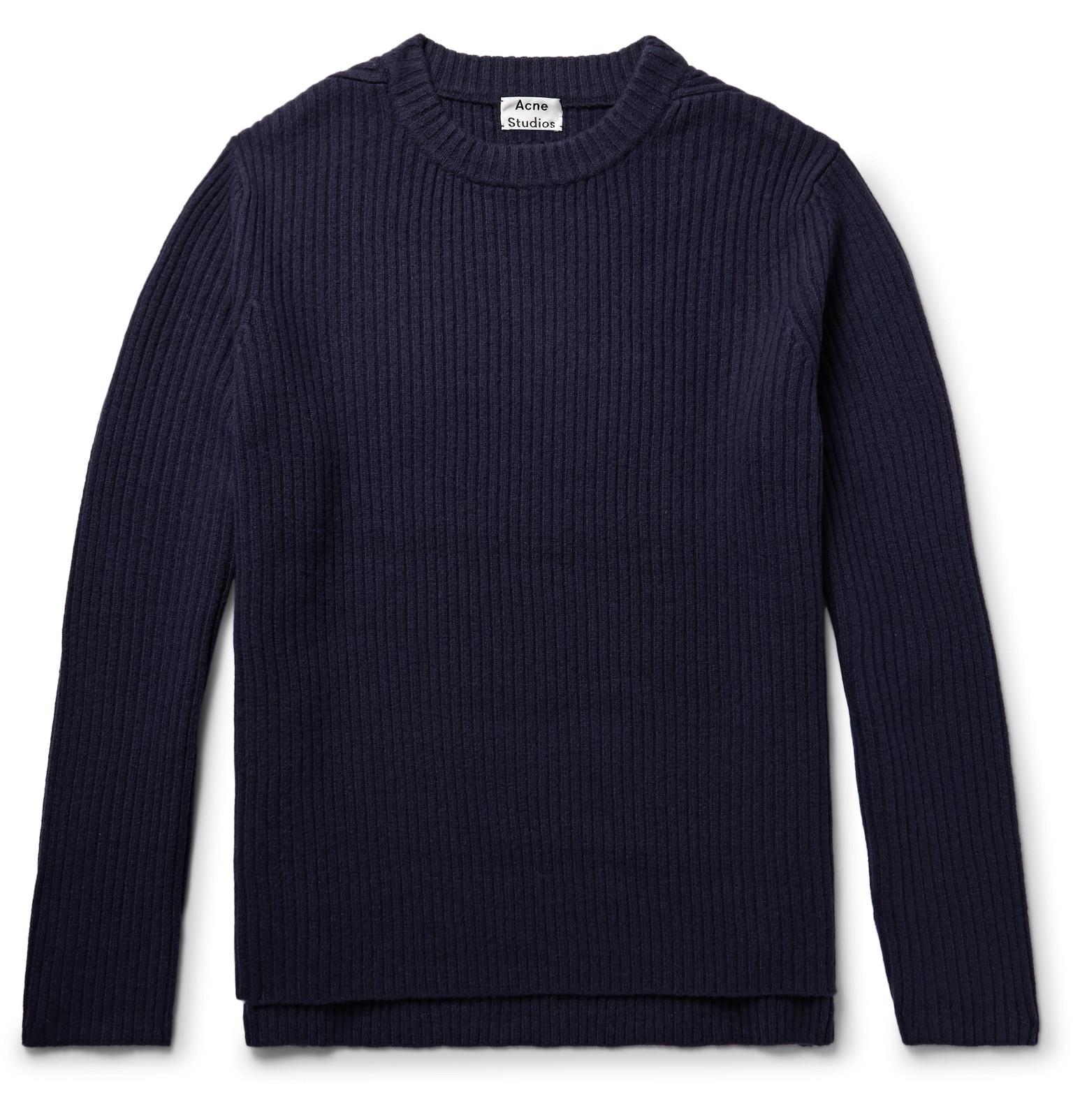 Acne Nicholas Ribbed Wool Sweater in Blue for Men | Lyst
