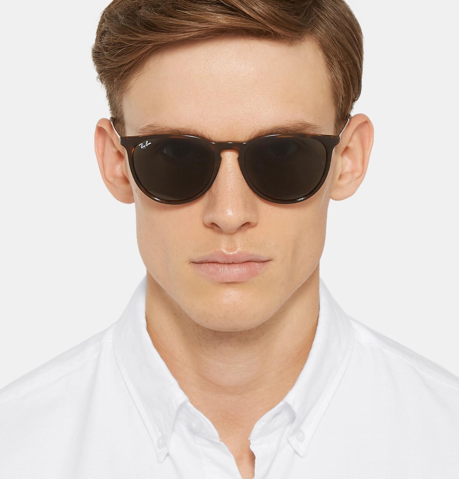 c2c07dfc42 Ray-Ban - Brown Erika Round-frame Tortoiseshell Acetate Sunglasses for Men  - Lyst. View fullscreen