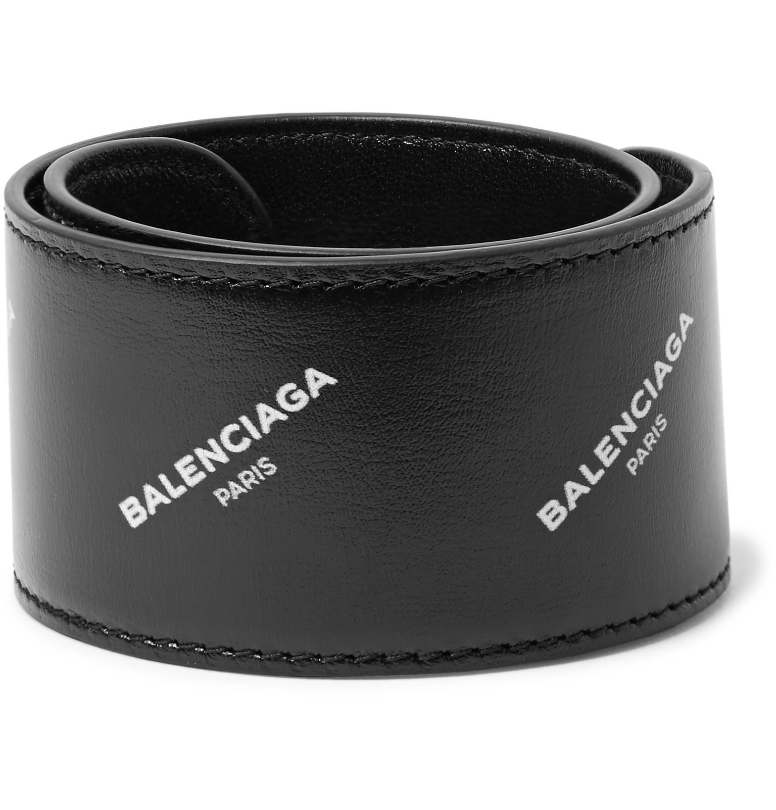 Balenciaga Printed Leather Snap Bracelet - Black CsdbVh4DCj