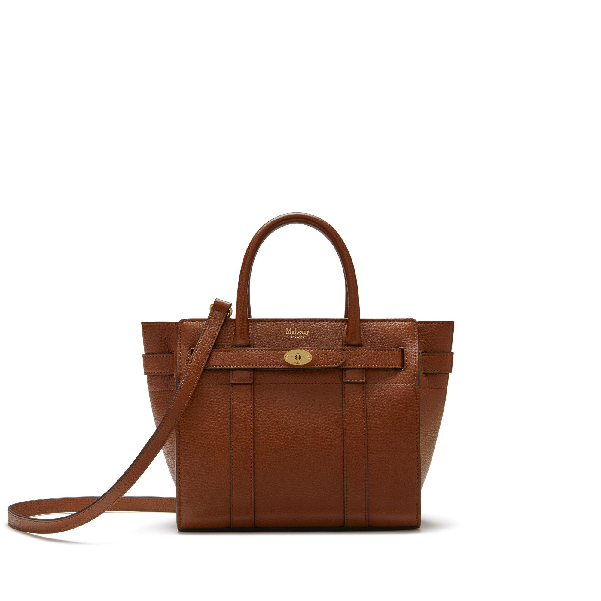 a4d2f633d3 Mulberry Mini Zipped Bayswater In Oak Natural Grain Leather in Brown ...