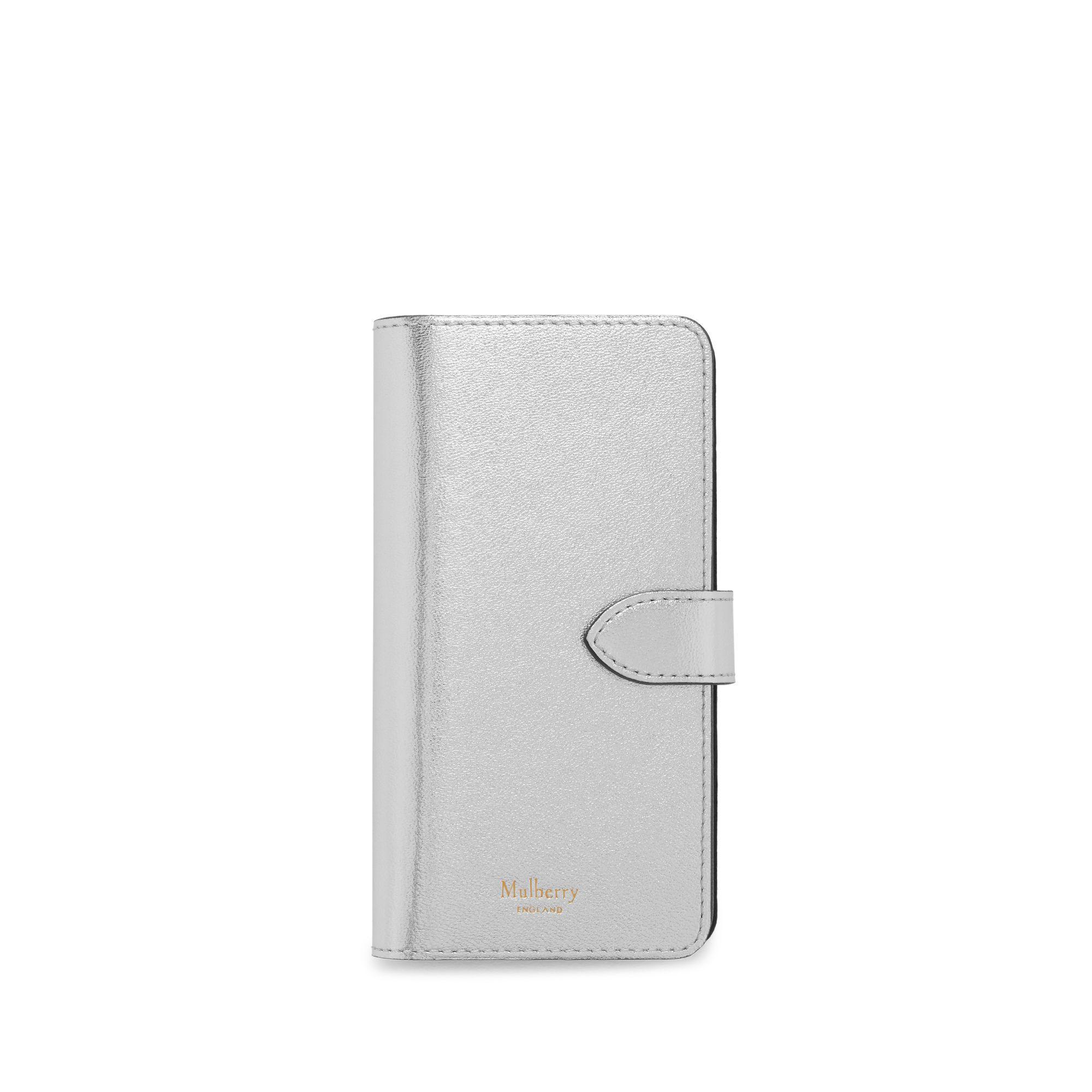 70cf175a7b28 Mulberry - Iphone Flip Case In Light Silver Metallic Nappa - Lyst. View  fullscreen