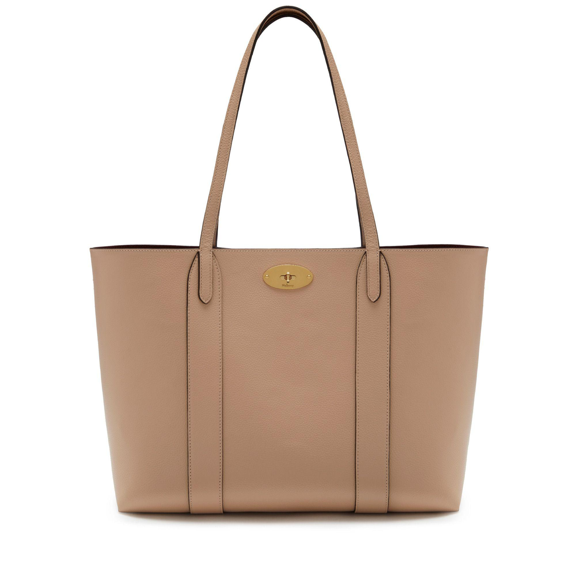 7bf1c4cede4a Lyst - Mulberry Bayswater Tote In Rosewater Small Classic Grain in Brown