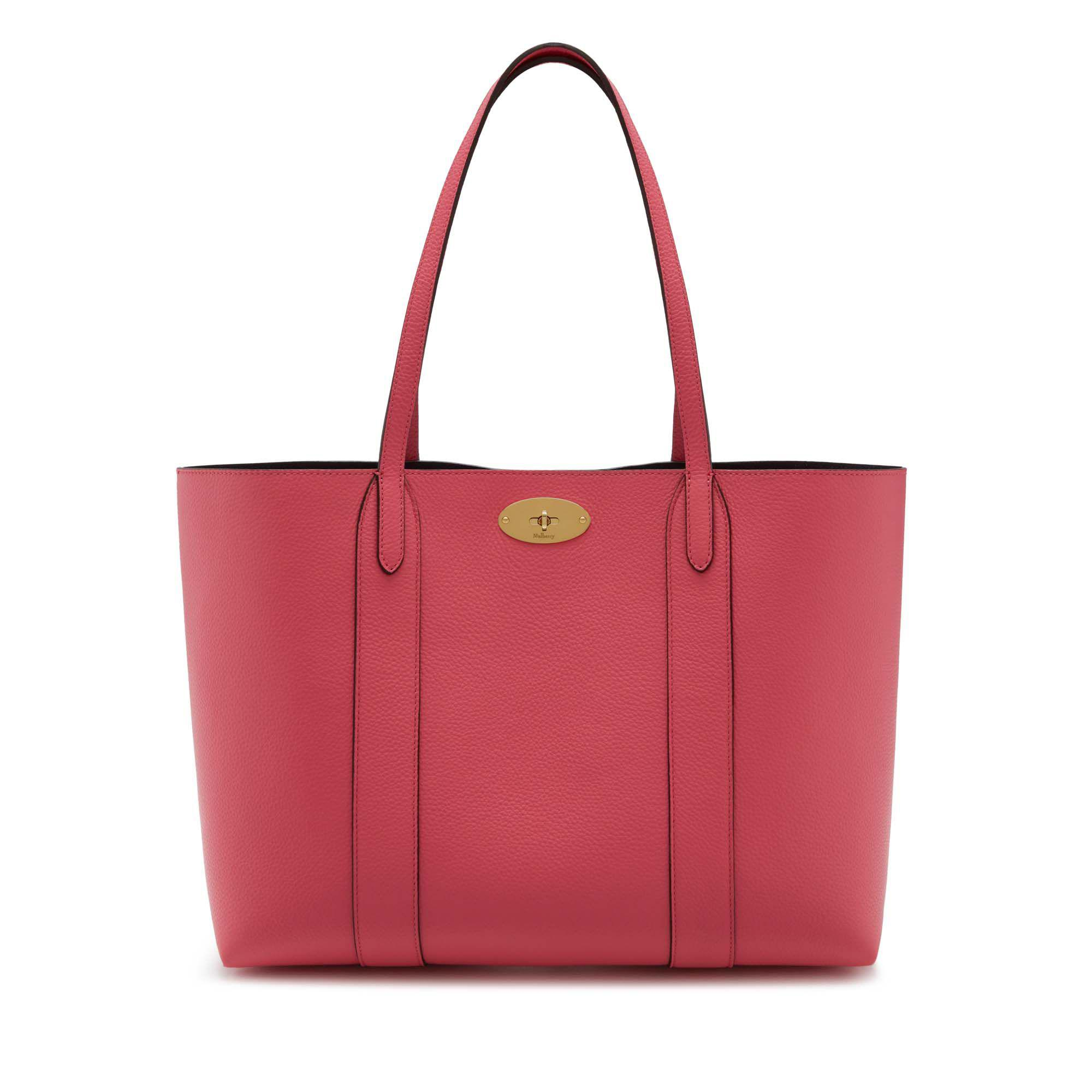9deb2a08ca17 Lyst - Mulberry Bayswater Tote In Geranium Pink Small Classic Grain ...