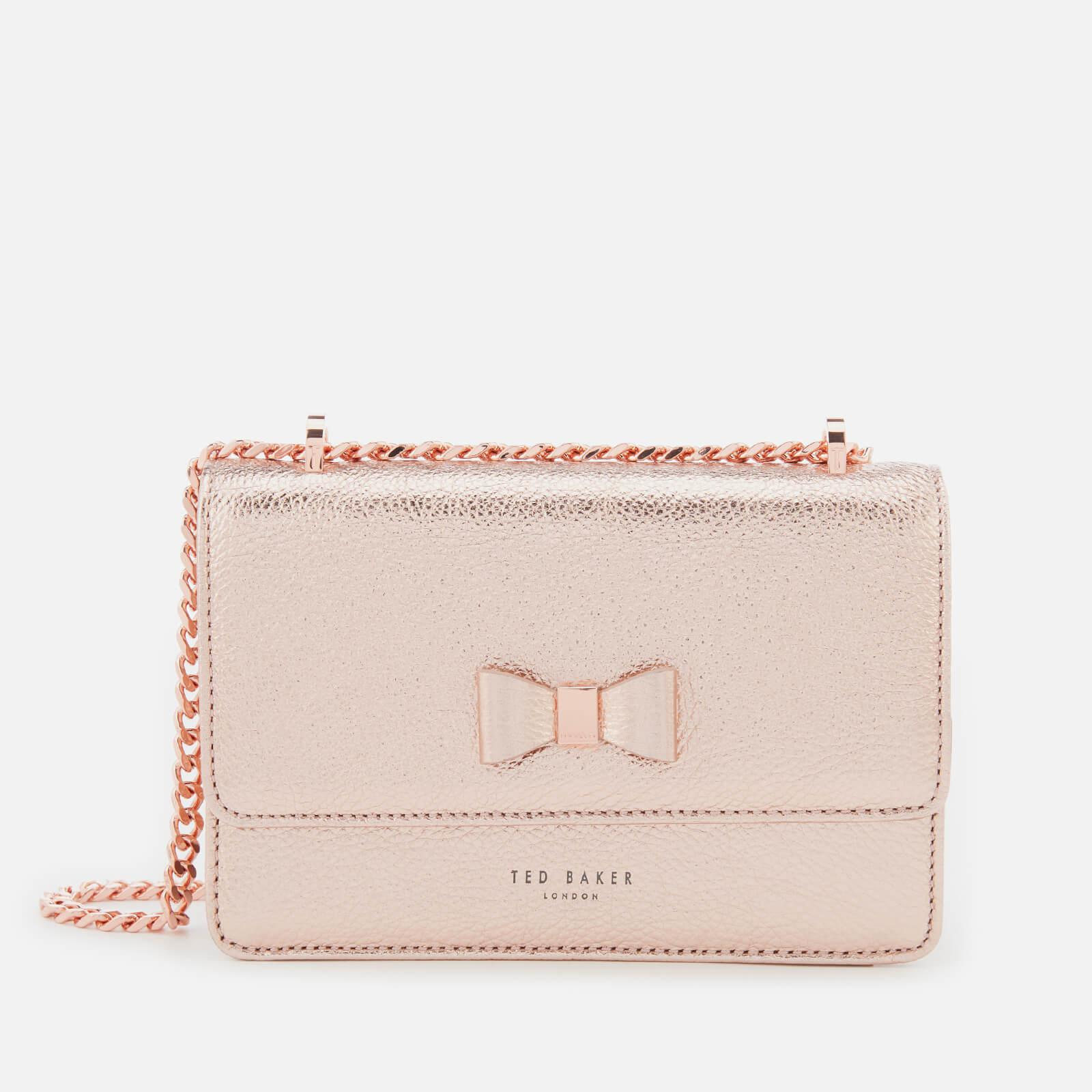 f80540f3c Lyst - Ted Baker Drayaa Bow Detail Micro Metallic Cross Body Bag in Pink