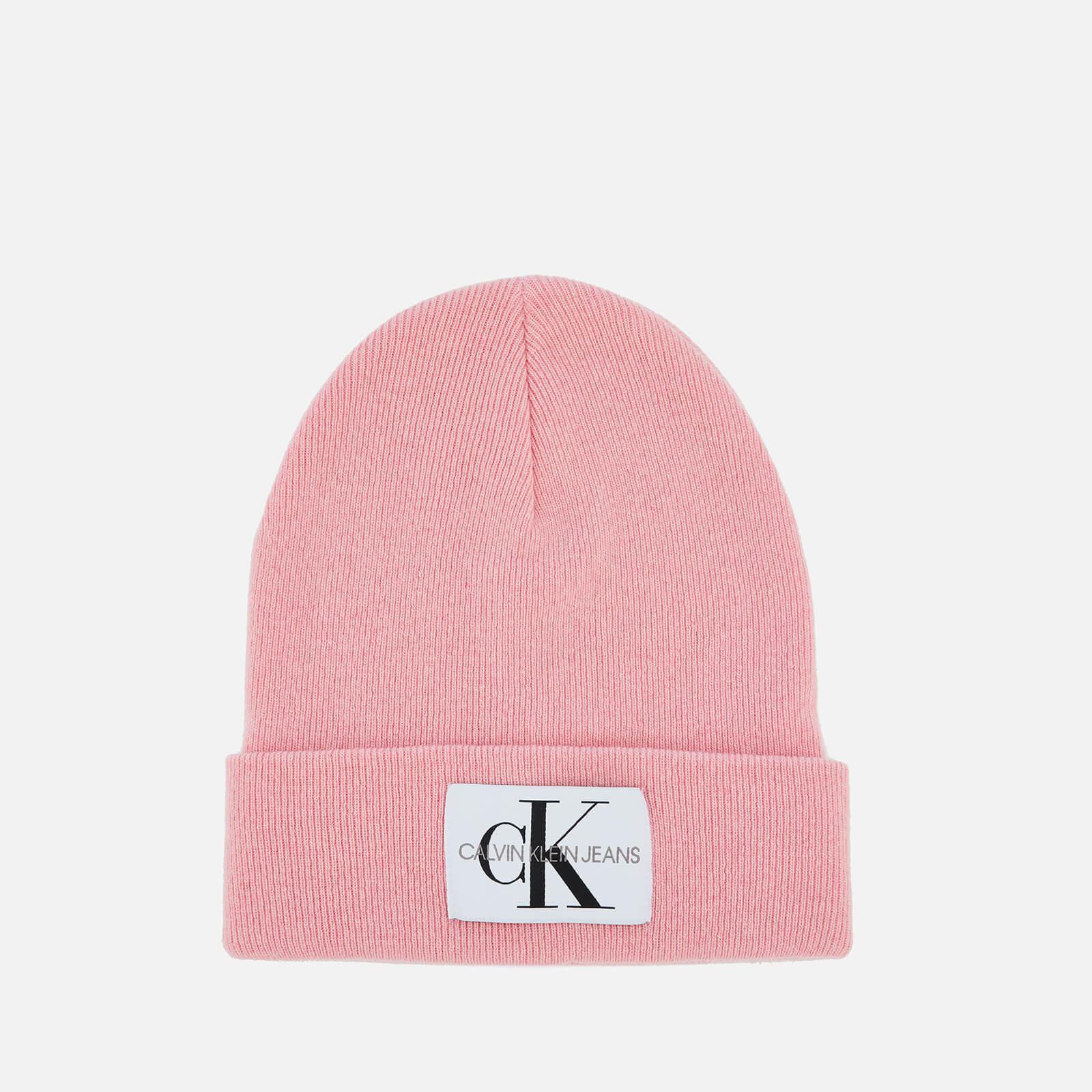 68ad51f592e Calvin Klein Wool Blend Logo Beanie in Pink - Lyst