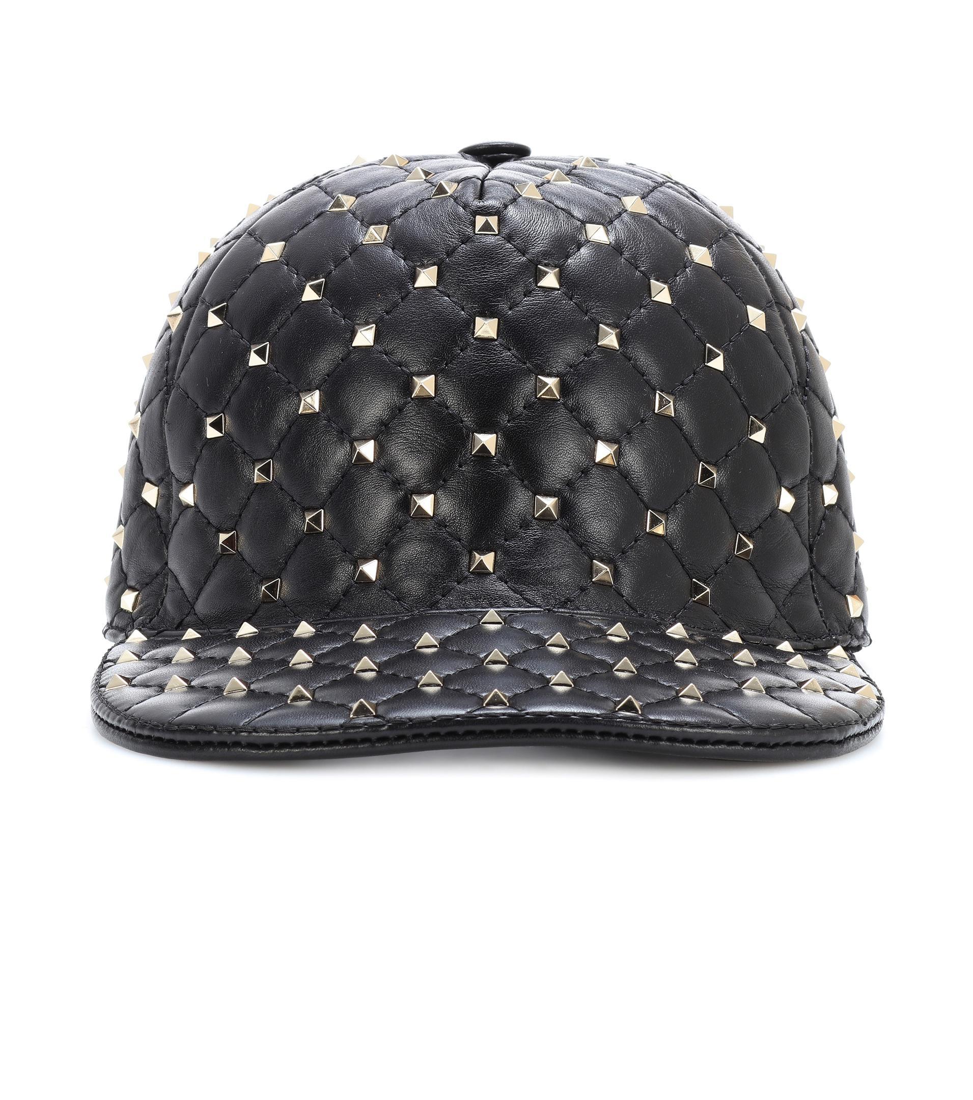 7ada2b99852 Lyst - Valentino Rockstud Spike Leather Cap in Black
