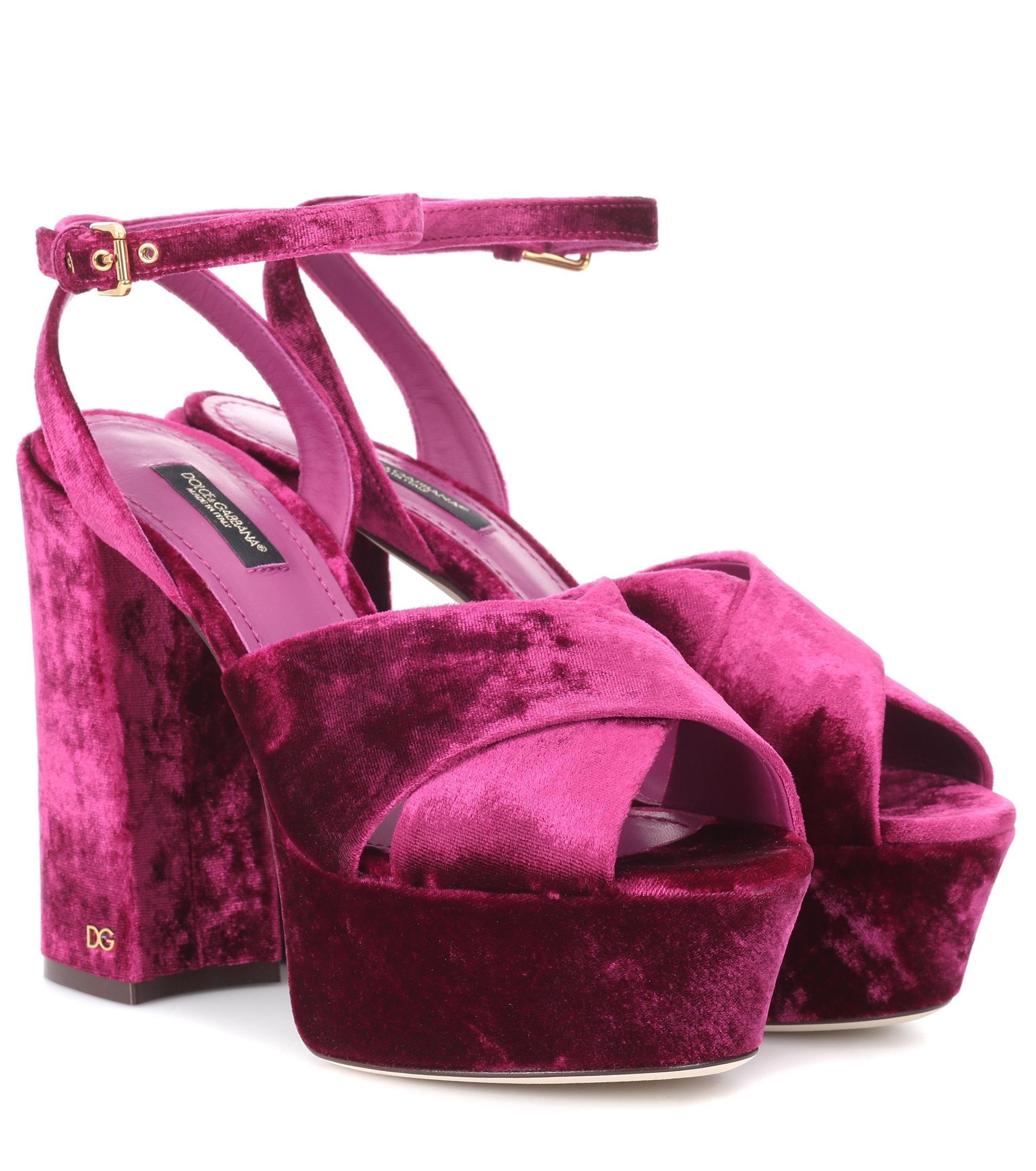 Keira Sandales Plateau De Velours Dolce & Gabbana OyNu74YB