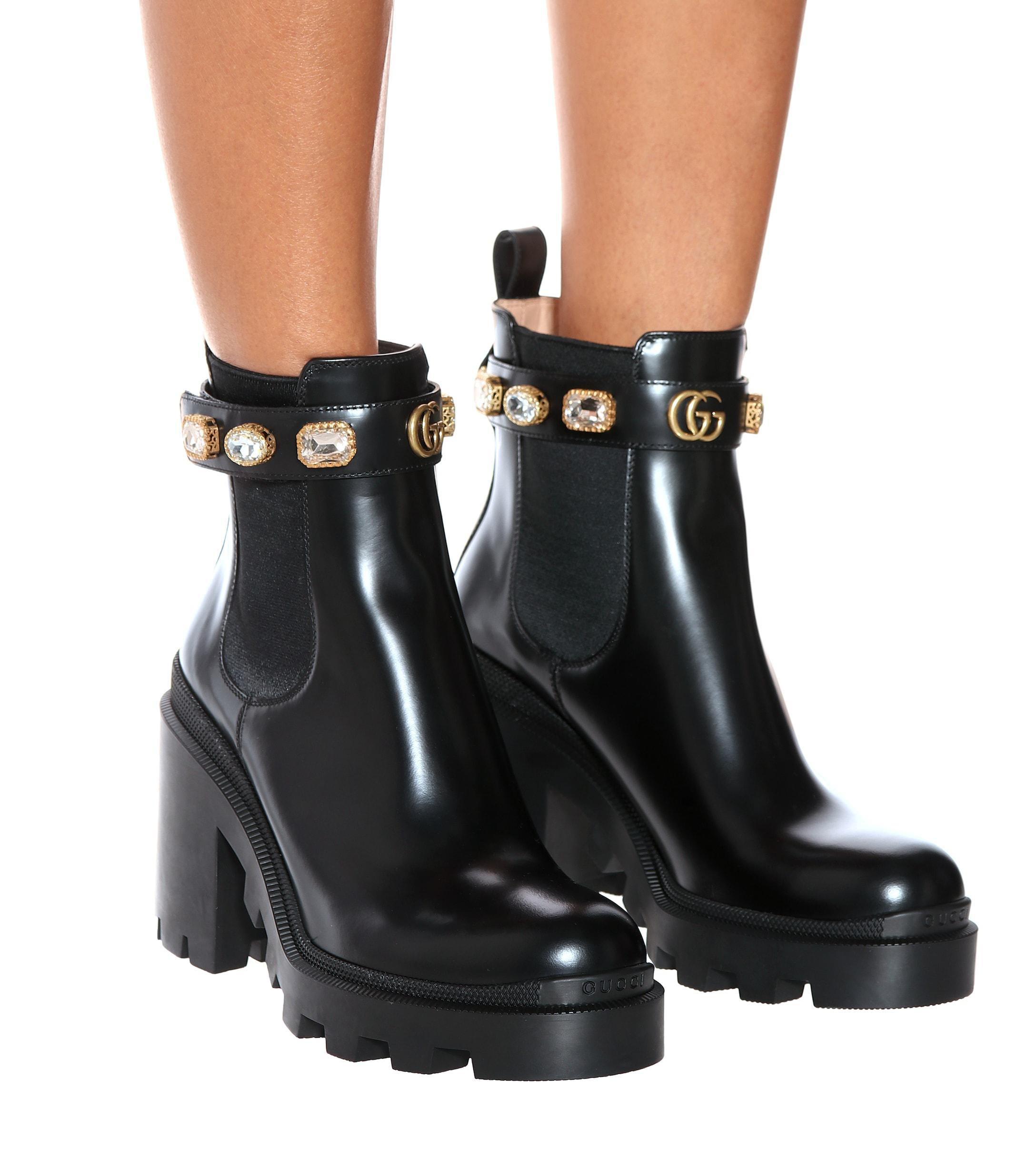 95dc53eaed8 Gucci - Black Embellished Leather Ankle Boots - Lyst. View fullscreen