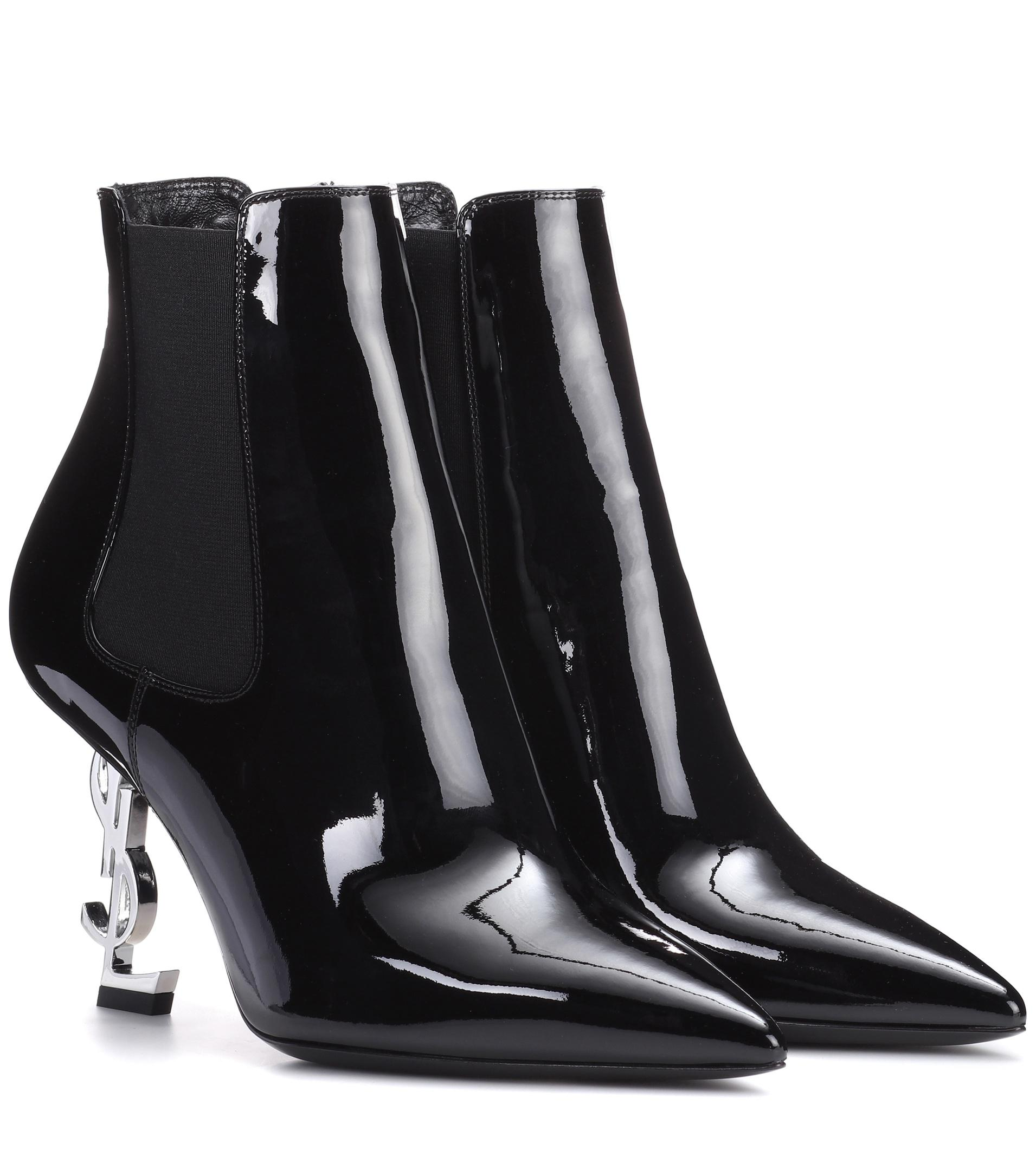 242f0a80f9b Saint Laurent Opyum Patent Booties With Monogram Ysl Heel in Black ...