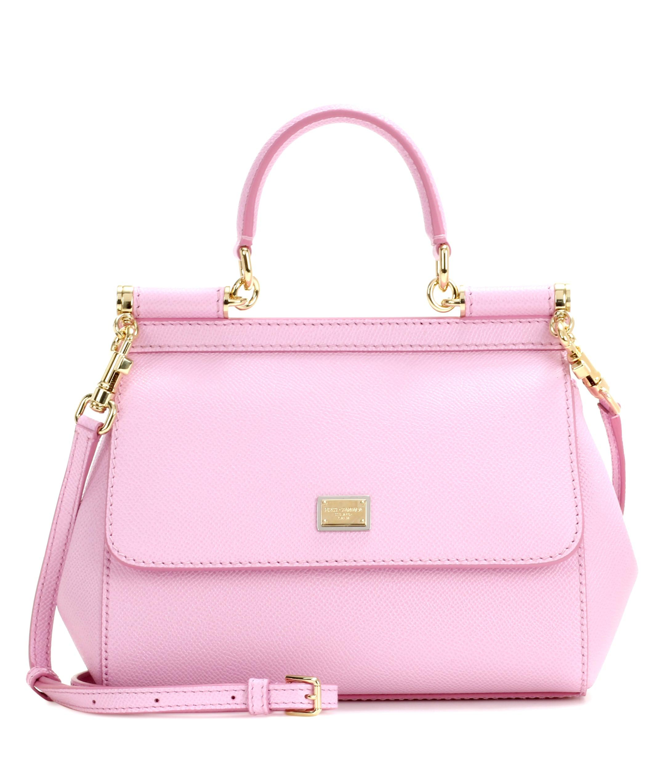 f00d6ff5a868 Lyst - Dolce   Gabbana Sicily Small Leather Shoulder Bag in Pink