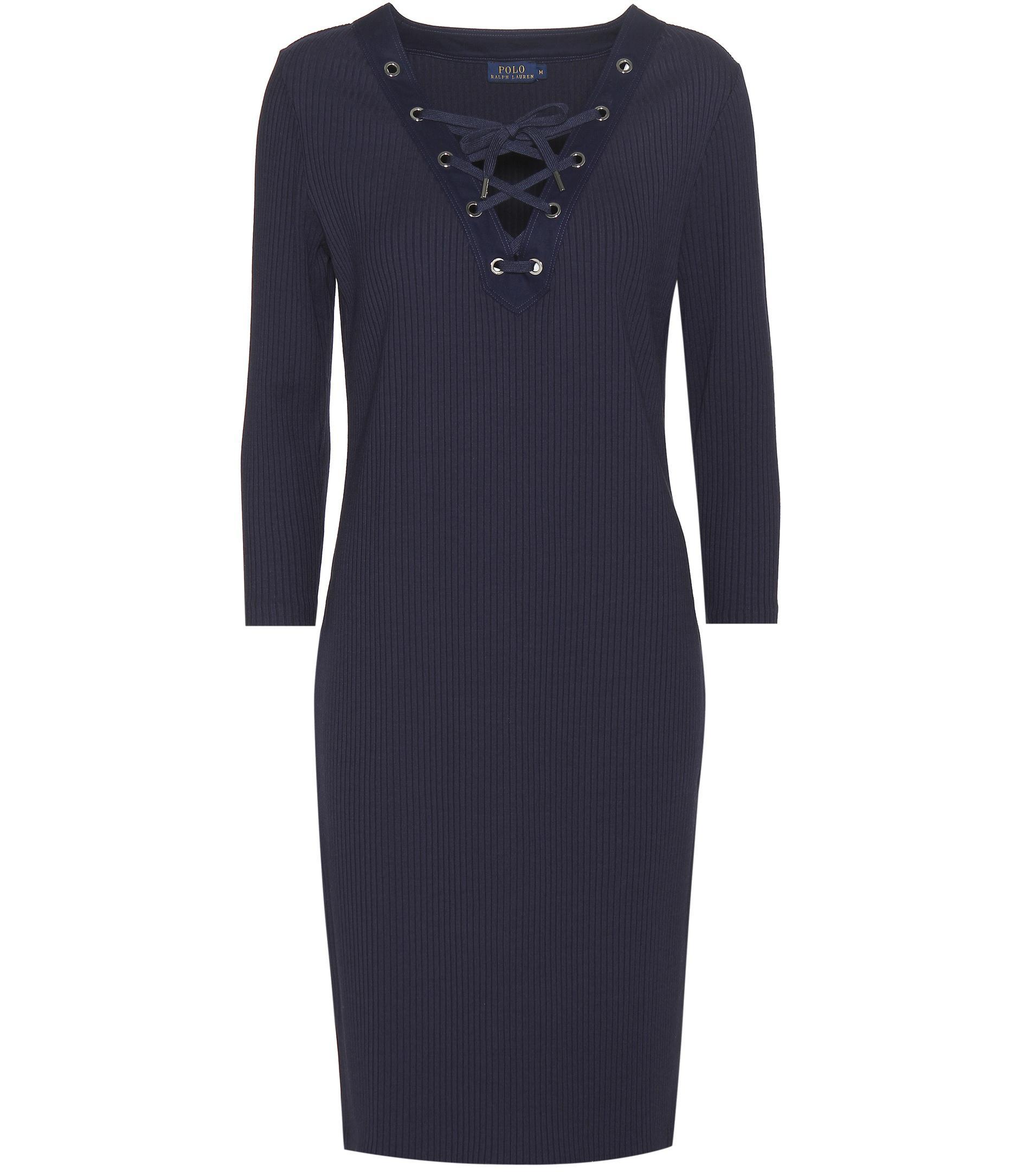 9be0a560c70 Lyst - Robe pull en maille côtelée Polo Ralph Lauren en coloris Bleu