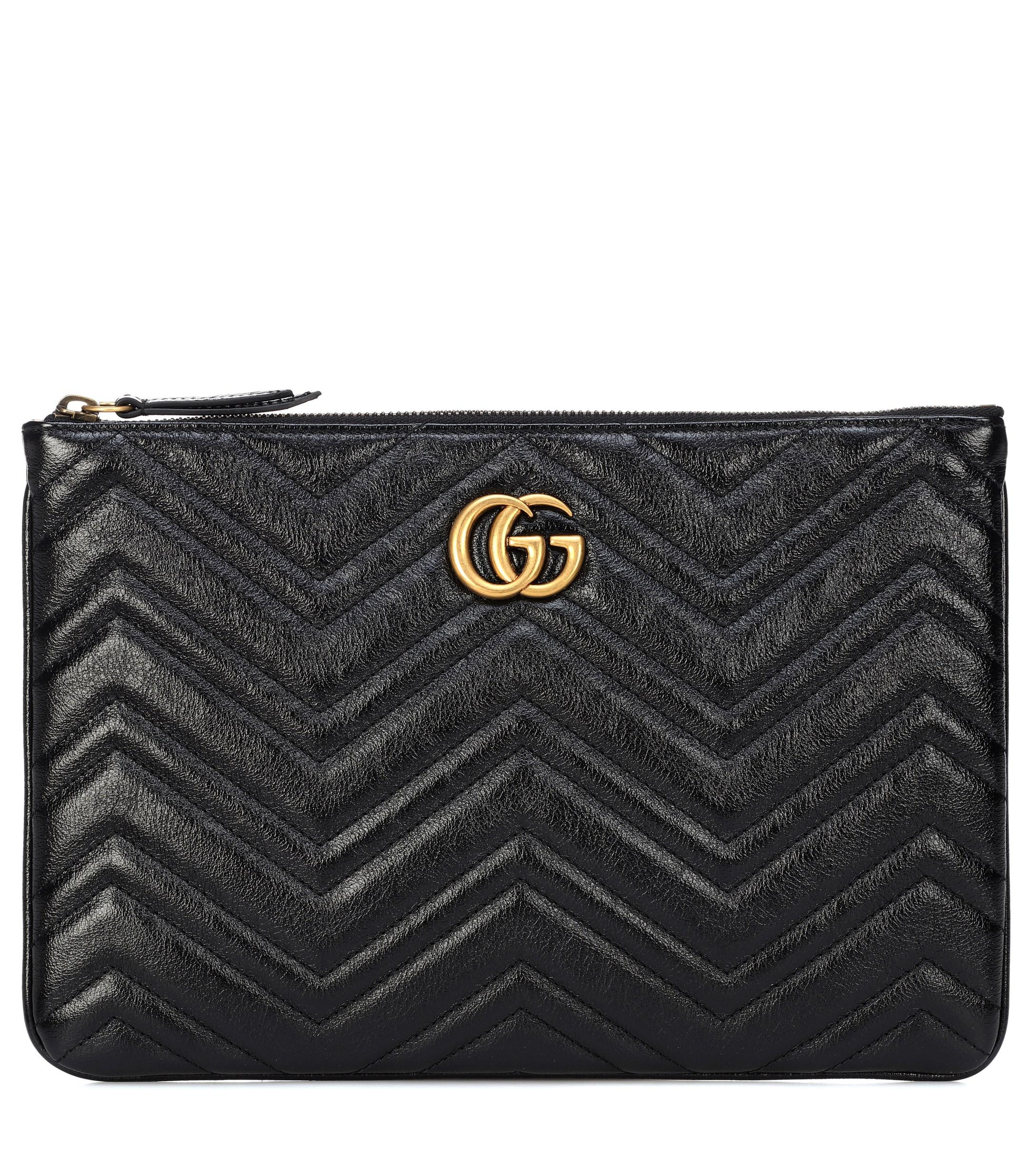 52bef15e7ffe Lyst - Gucci GG Marmont Quilted Leather Clutch in Black