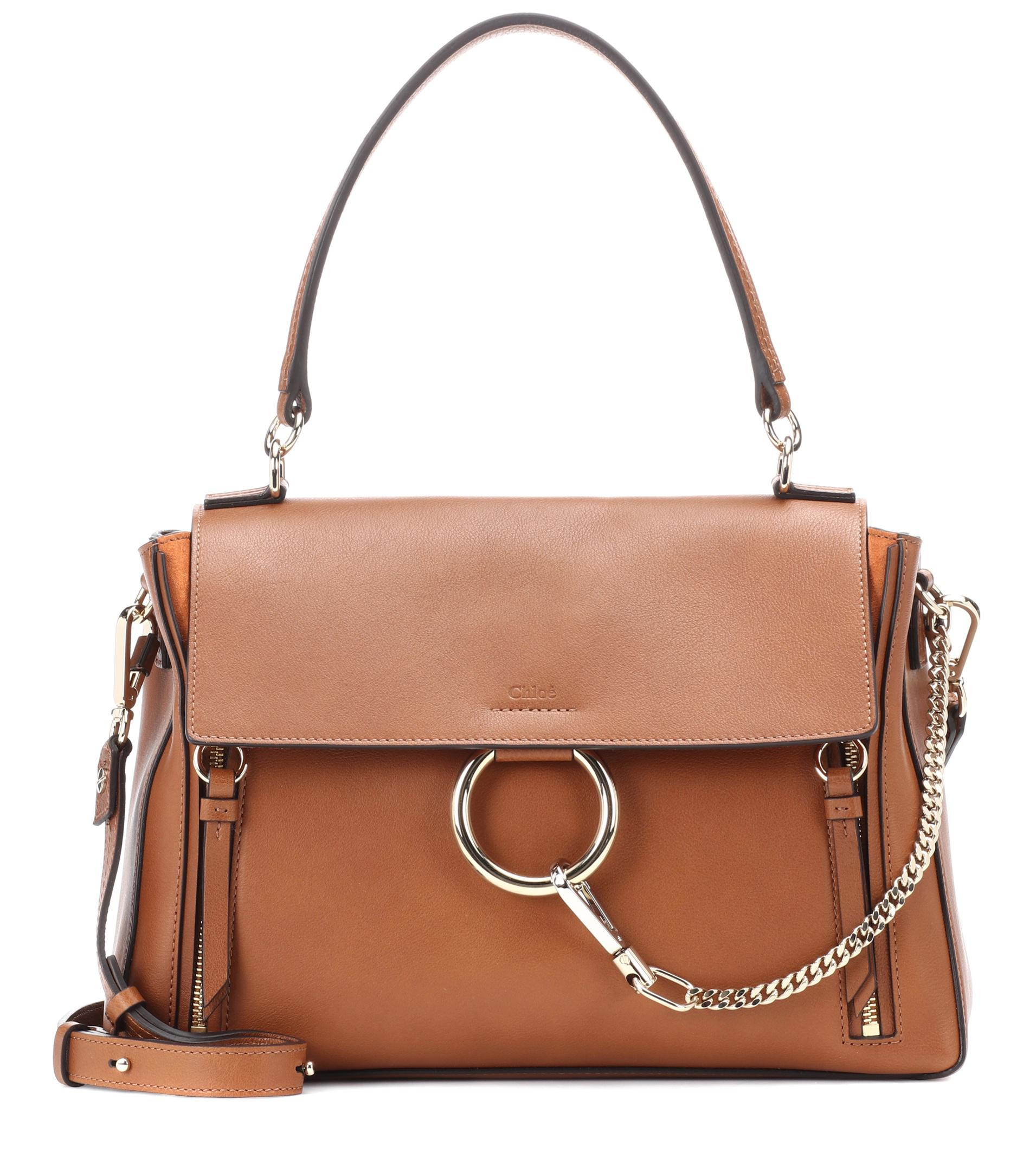 Lyst - Sac à bandoulière en cuir Faye Day Medium Chloé en coloris Marron f92002e2581