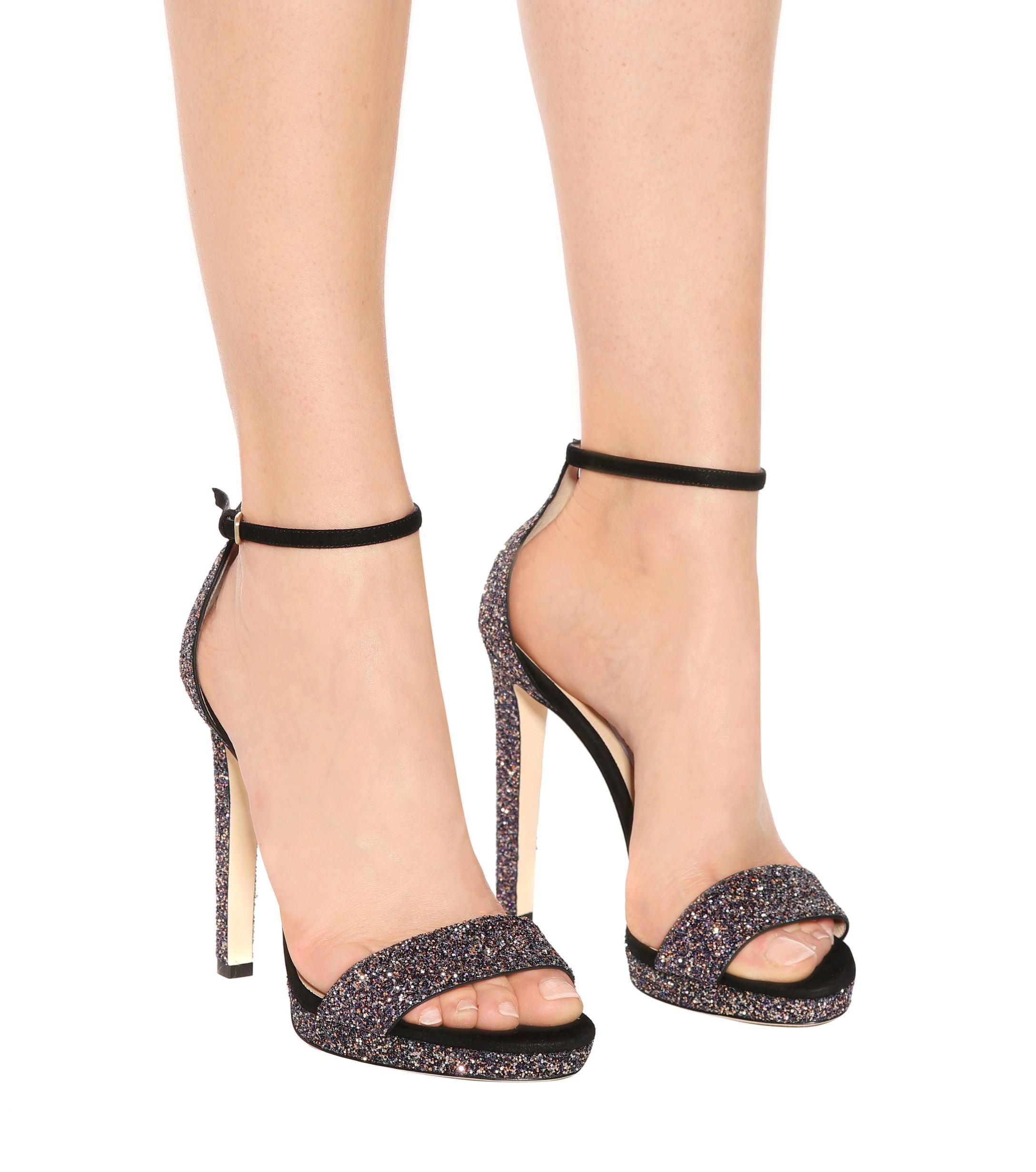 c85ce26dd56 Jimmy Choo - Black Misty 120 Glitter Sandals - Lyst. View fullscreen