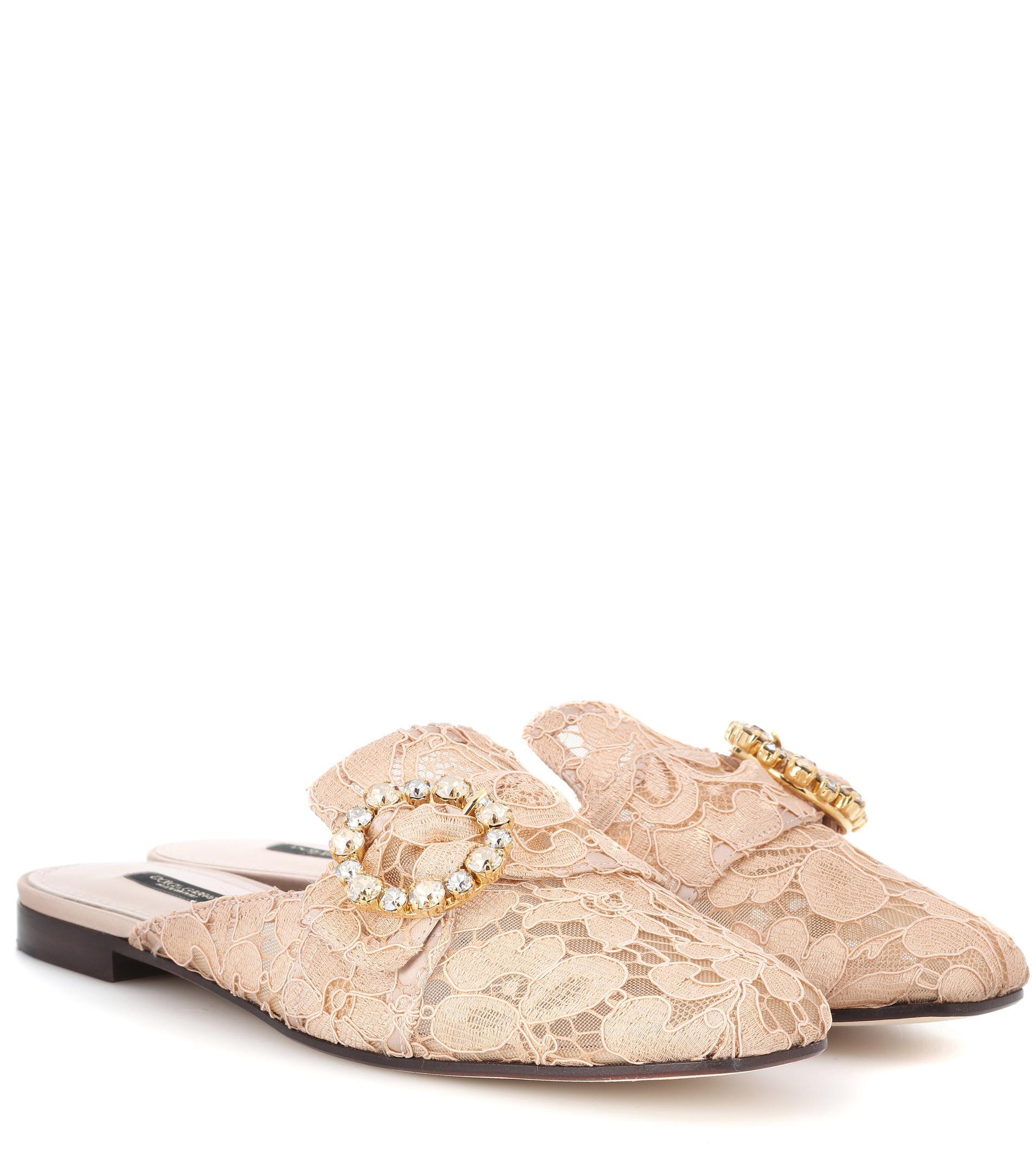 Dolce Et Pantoufles Dentelle Gabbana Avec Des Ornements En Cristal - Métalliques IfQpPV