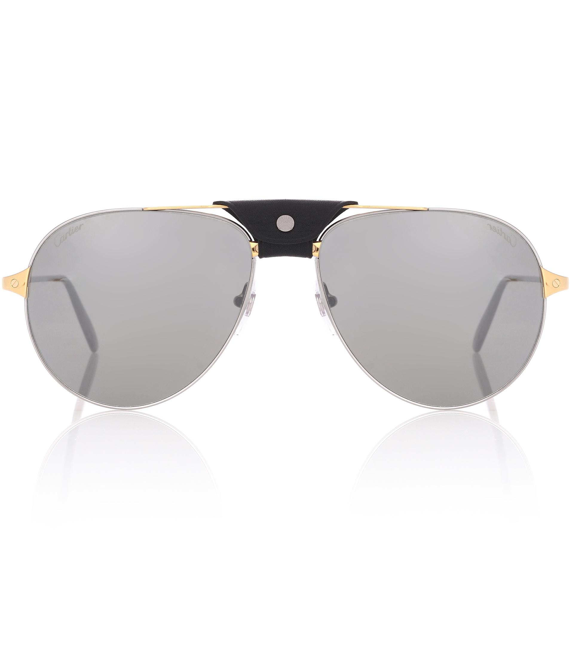 ad5c68bdda8 Lyst - Cartier Santos De Cartier Aviator Sunglasses in Metallic