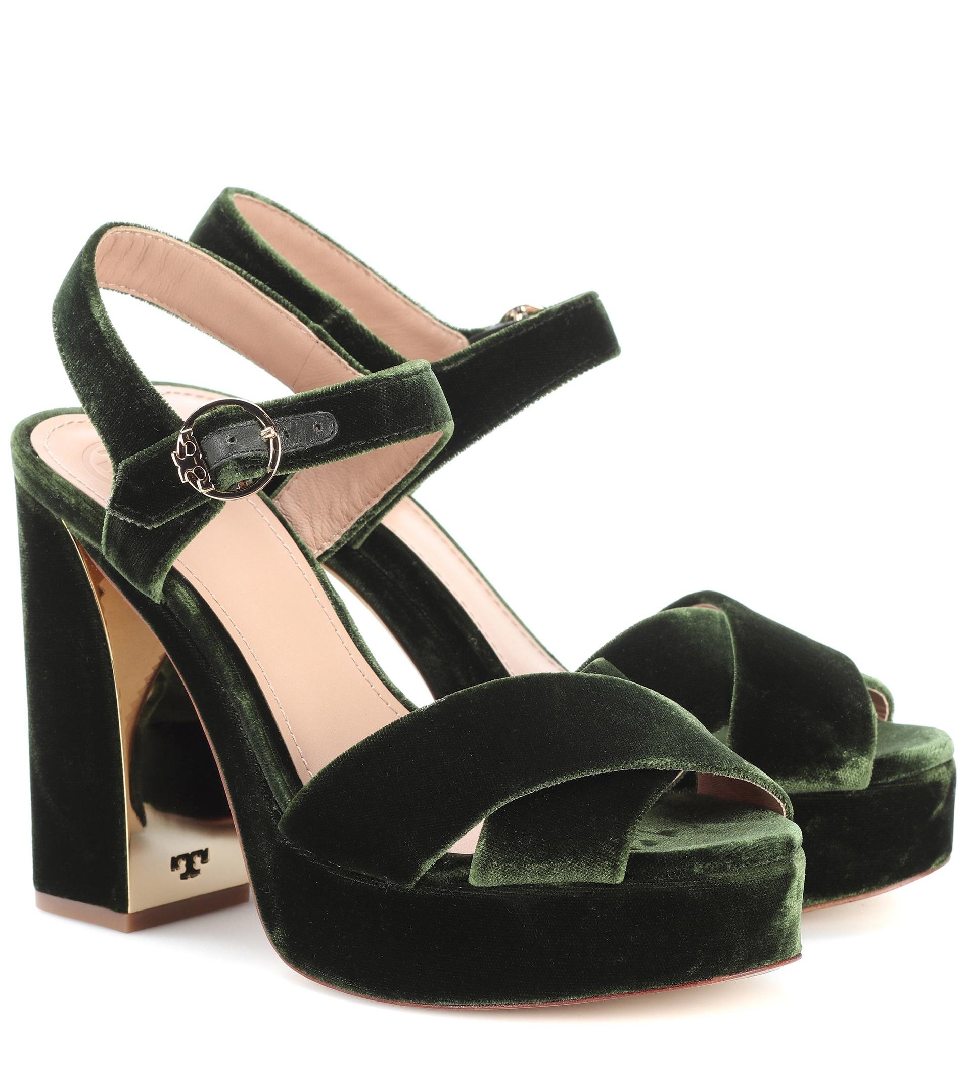 Tory Burch. Women's Green Loretta 115 Velvet Plateau Sandals