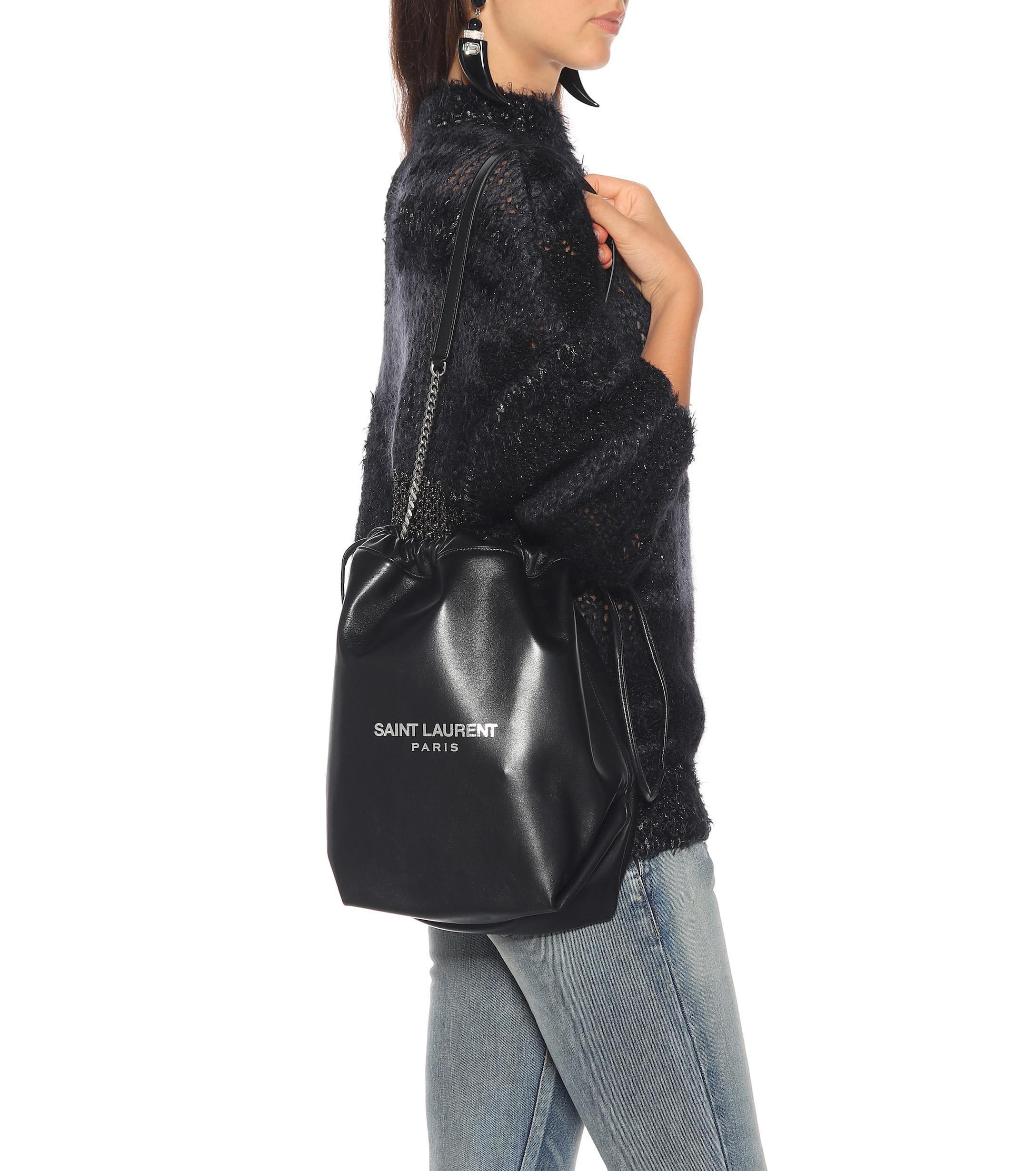 Saint Laurent - Black Teddy Leather Bucket Bag - Lyst. View fullscreen c24b117c91340