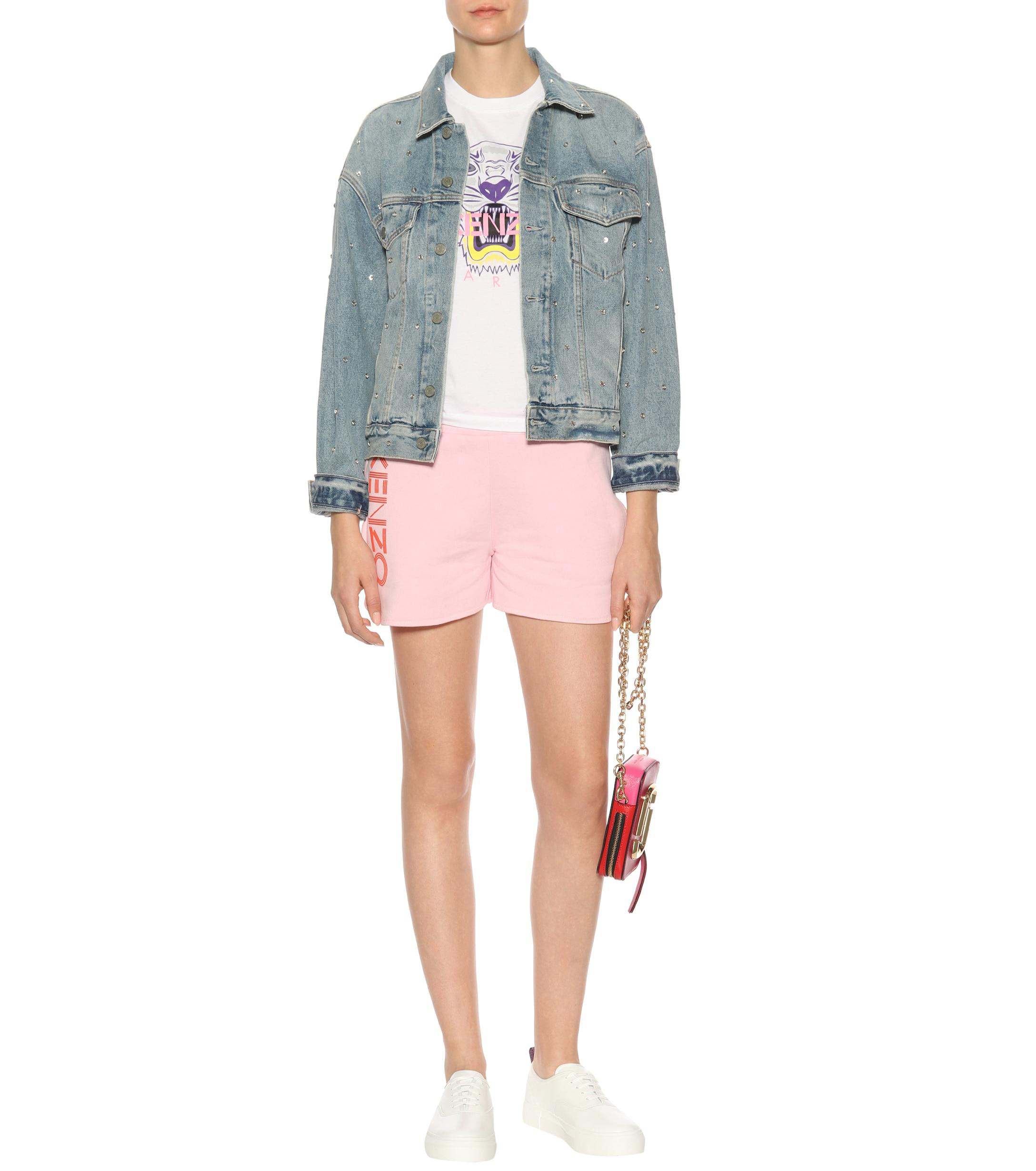 ef26e6c9 KENZO - Pink Printed Cotton-fleece Shorts - Lyst. View fullscreen
