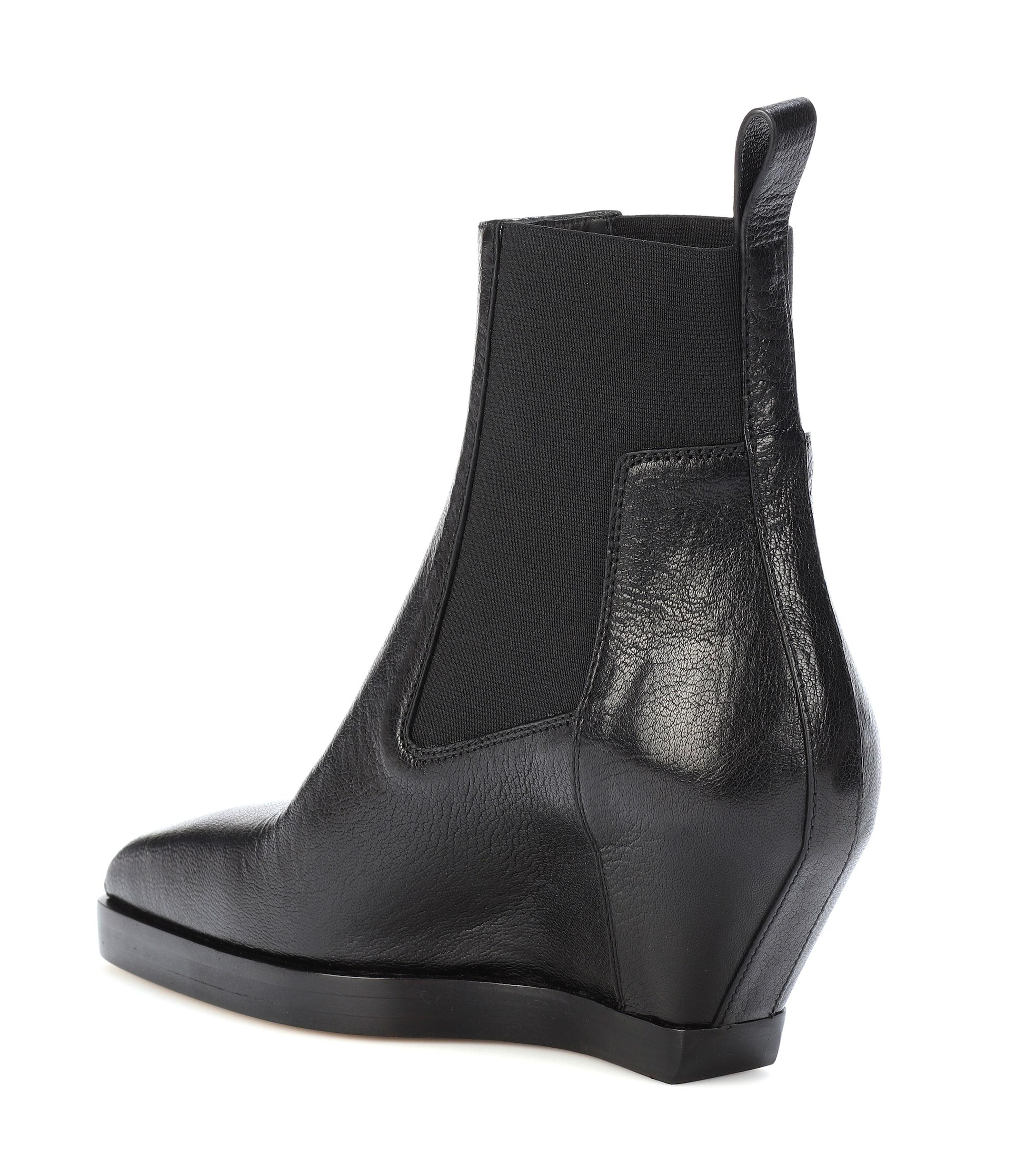 4a584db9d31b Rick Owens - Black Leather Ankle Boots - Lyst. View fullscreen