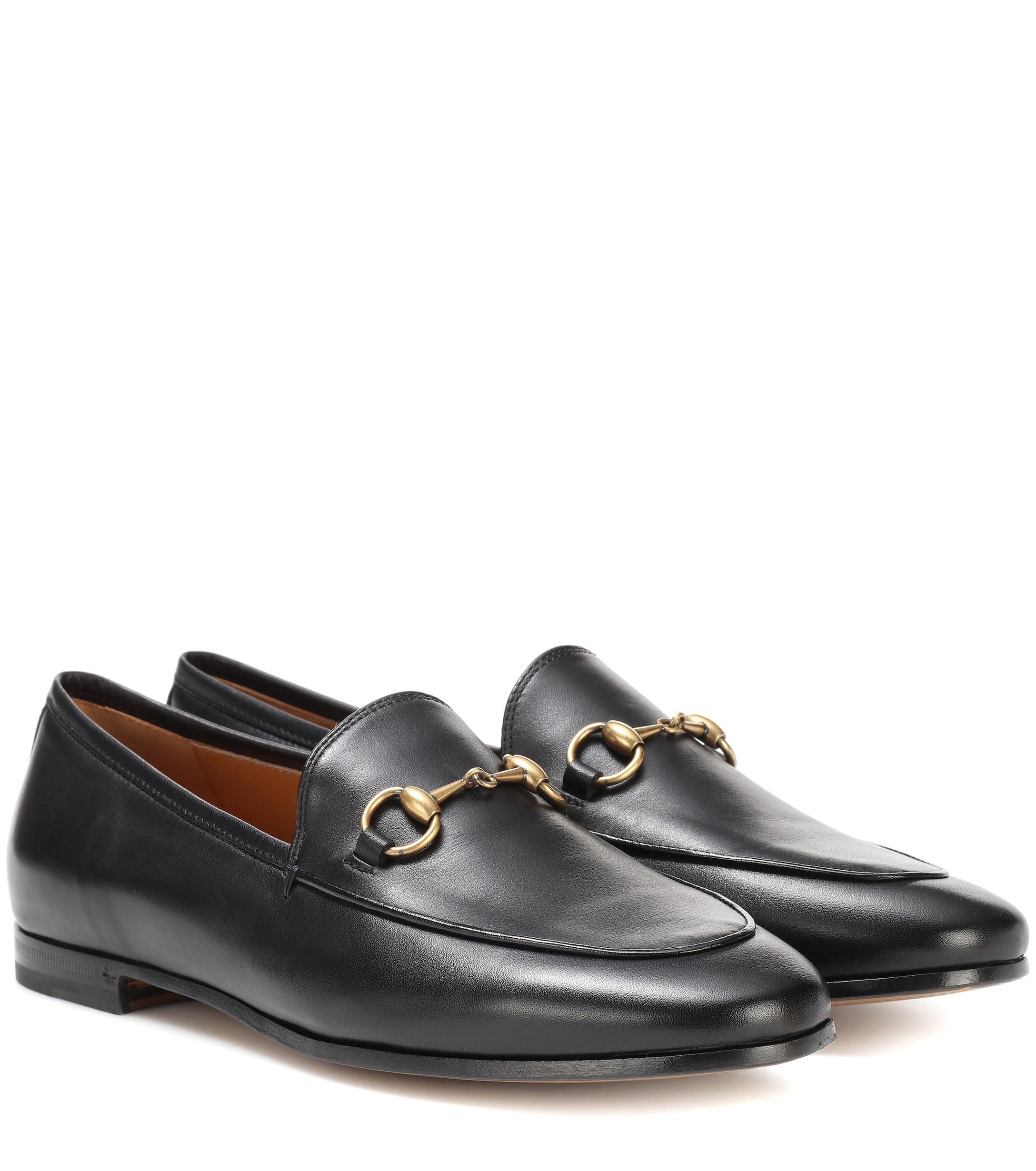 d157f85fec5 Lyst - Gucci Jordaan Leather Loafers in Black