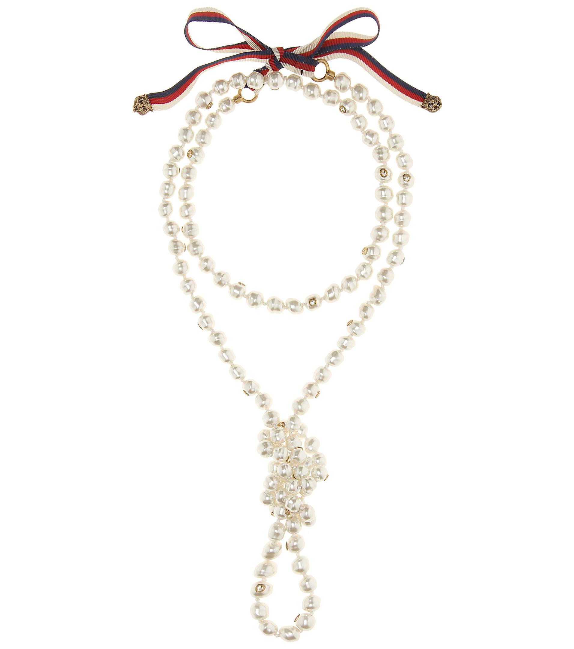 d7949155ac2 Lyst - Gucci Faux Pearl Necklace in White