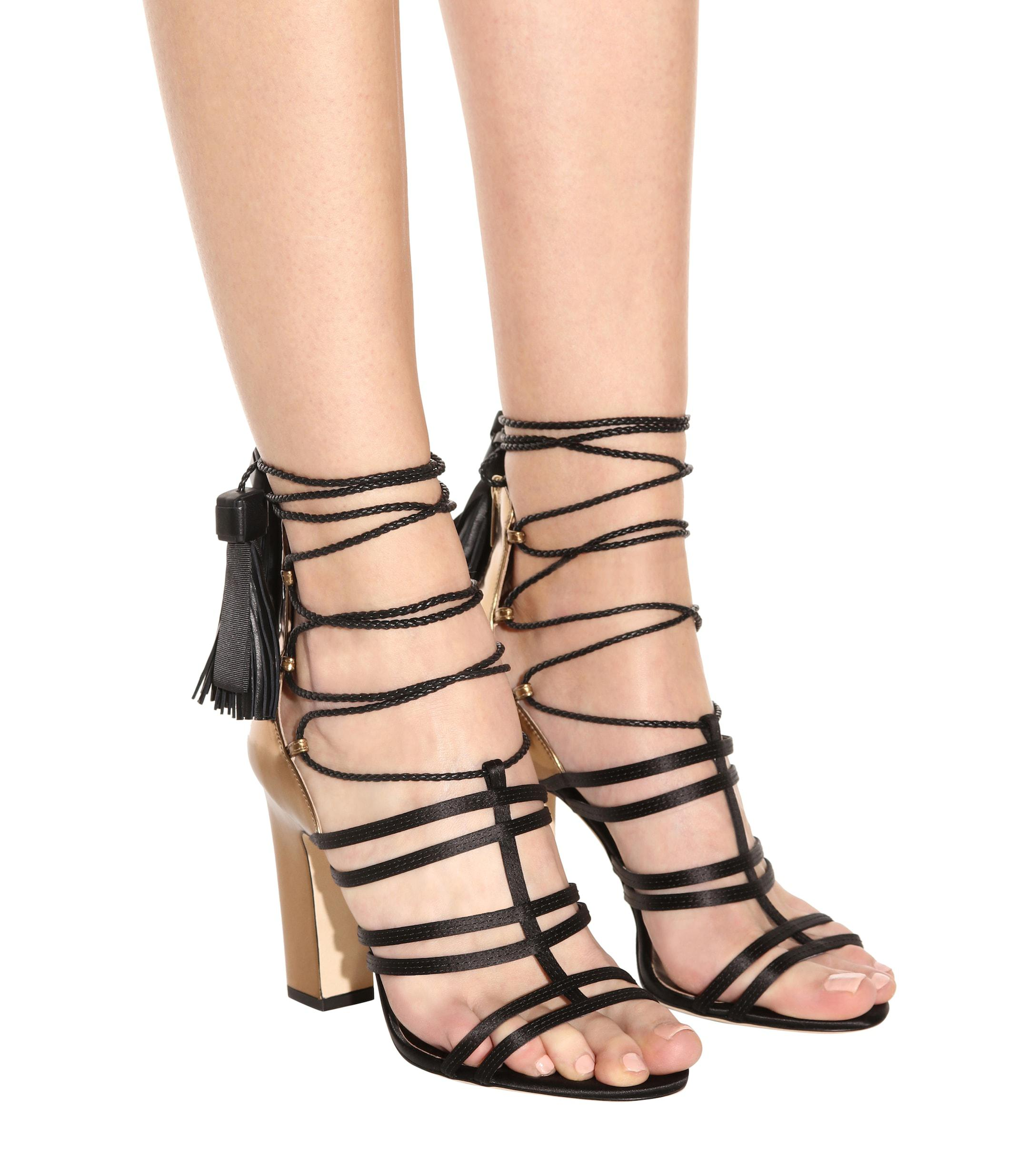 Lyst Jimmy Choo Diamond 100 Satin And Leather Sandals In