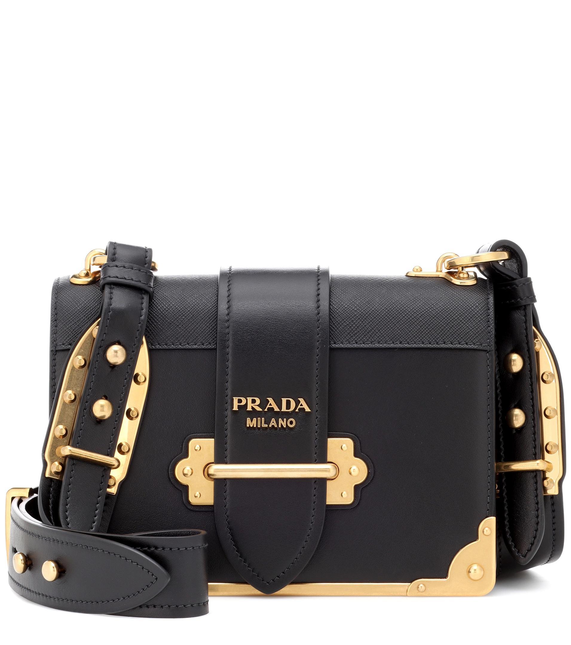 13608bd0bb98 Prada Cahier Leather Shoulder Bag in Black - Lyst