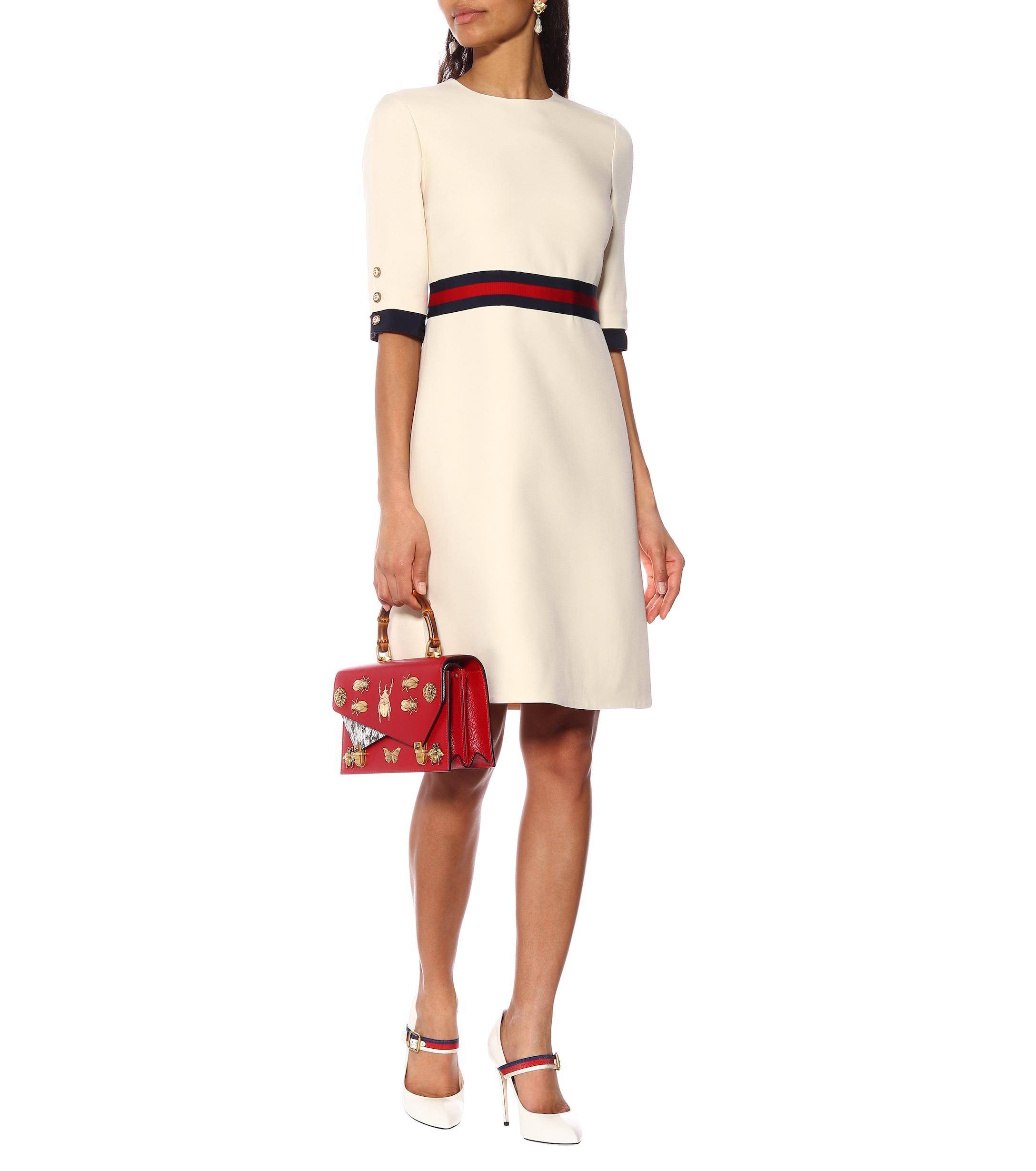 1e9aa6f3e22 Gucci - White Wool Silk Web Dress - Lyst. View fullscreen