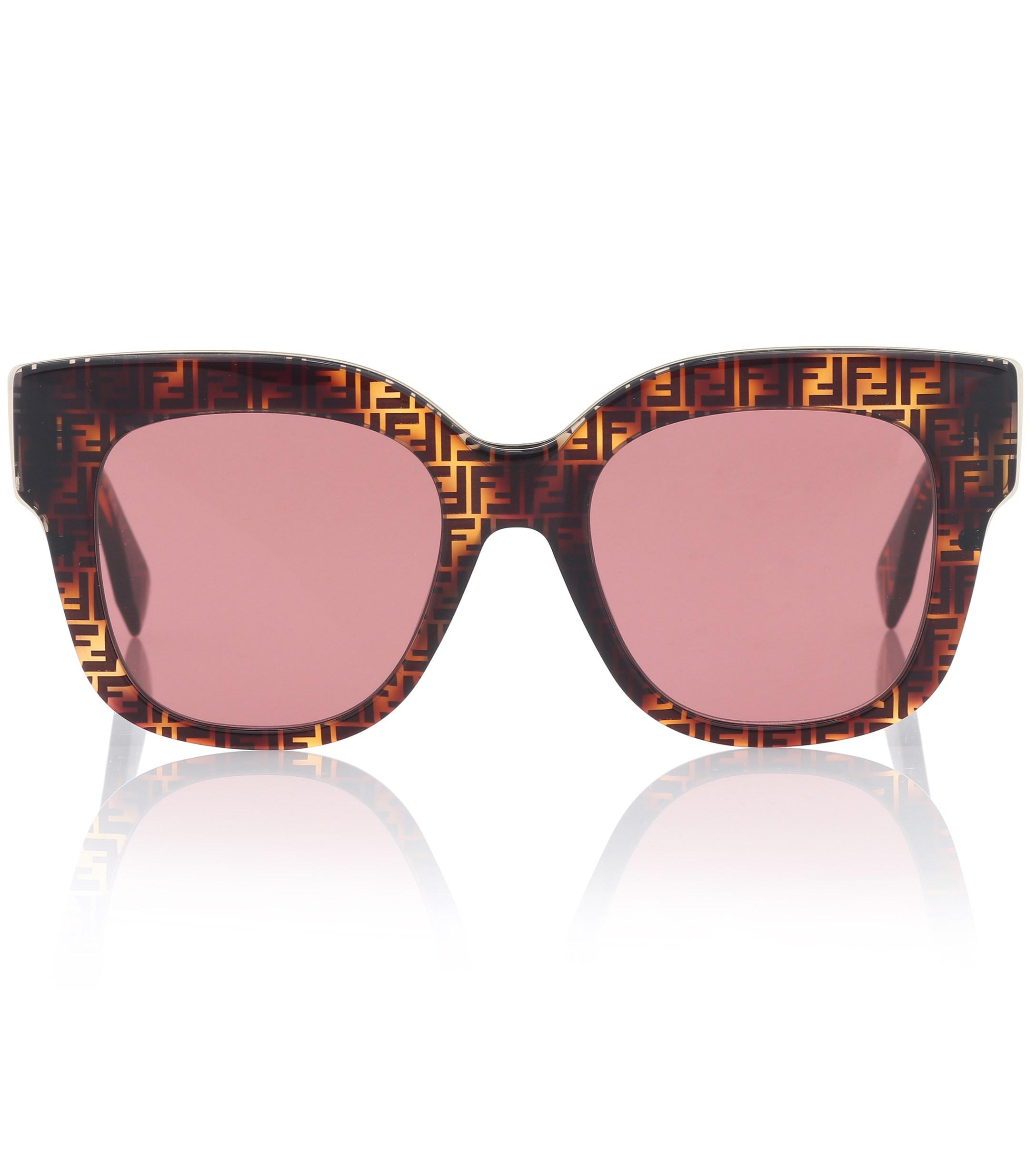 b5c078a2978 Lyst - Fendi Logo Acetate Sunglasses in Brown