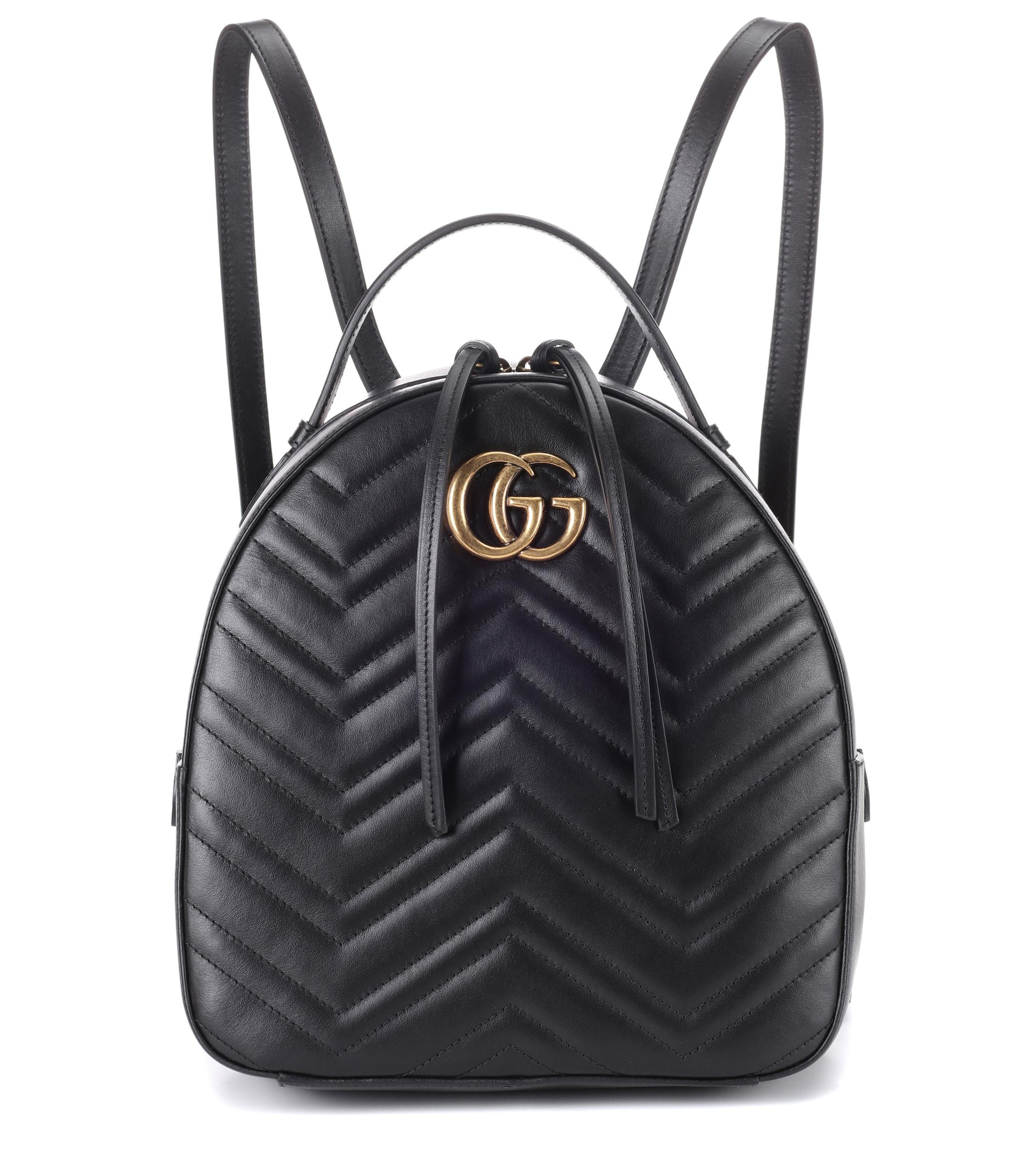 94bdeeaea Gucci GG Marmont Matelassé Leather Backpack in Black - Lyst