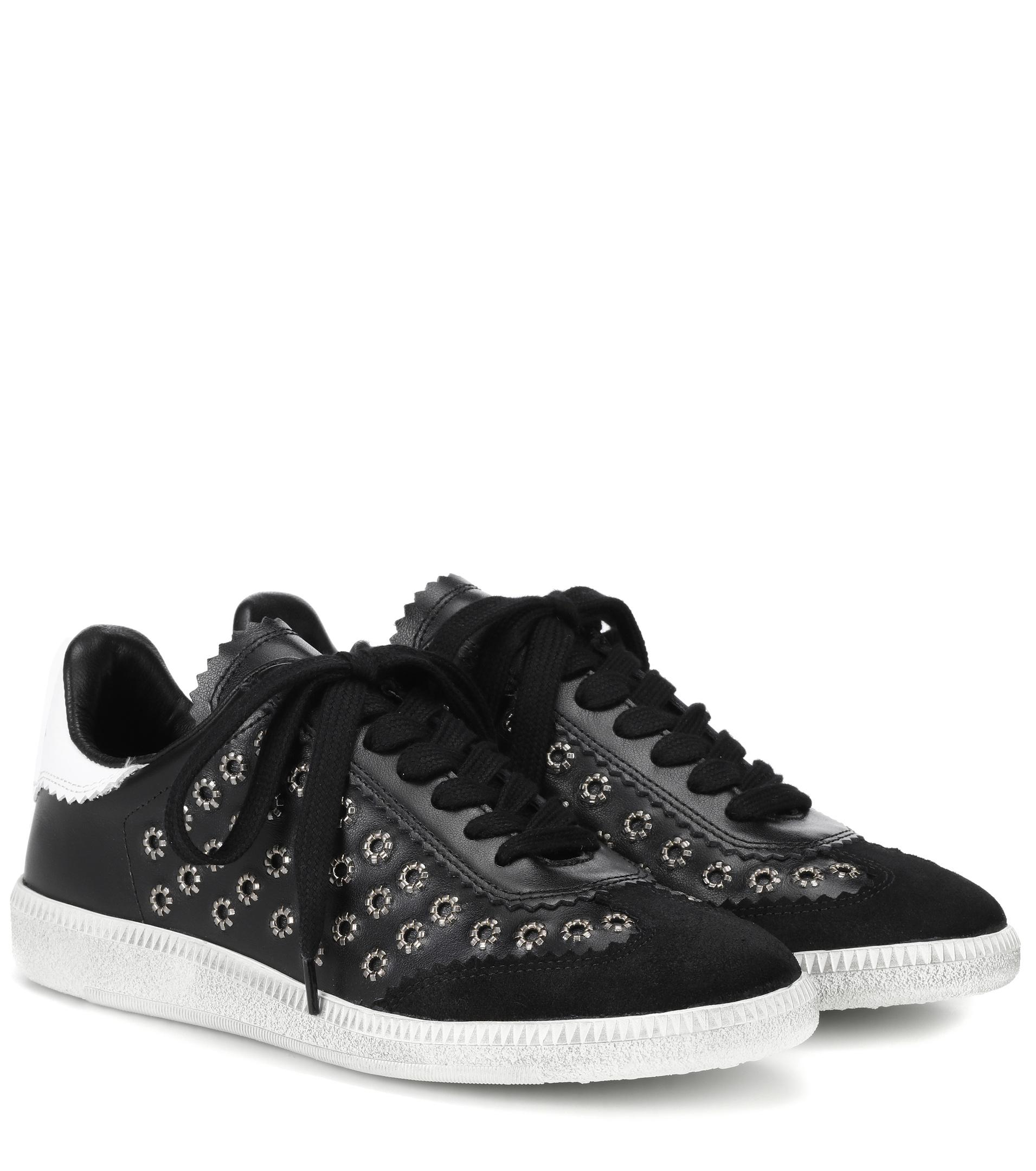 Sale Top Quality Isabel Marant Bryce Embellished Leather and Suede Sneakers Shop For Online g5QQFsEVx