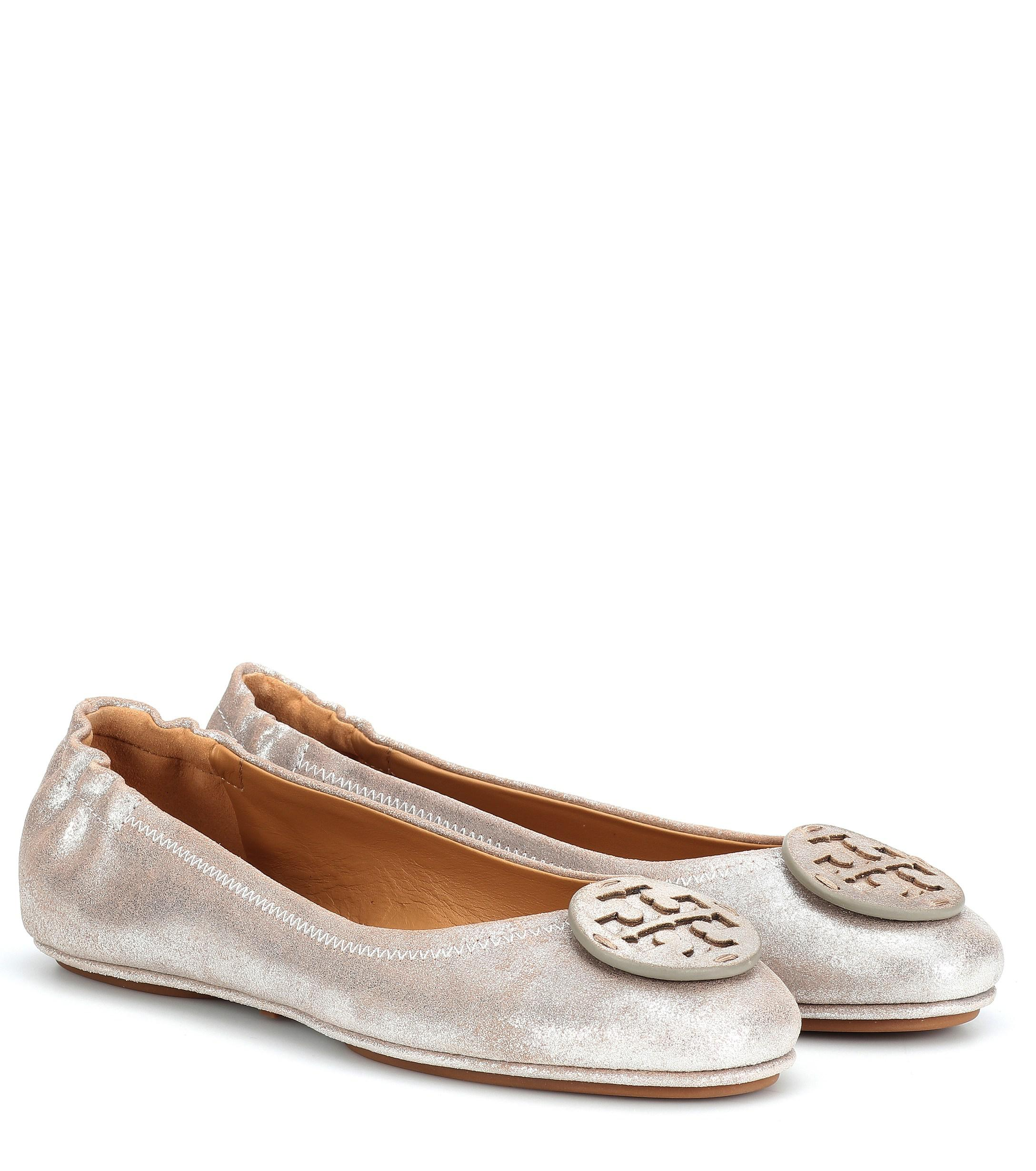 80b5855de Lyst - Tory Burch Minnie Travel Leather Ballet Flats in Metallic