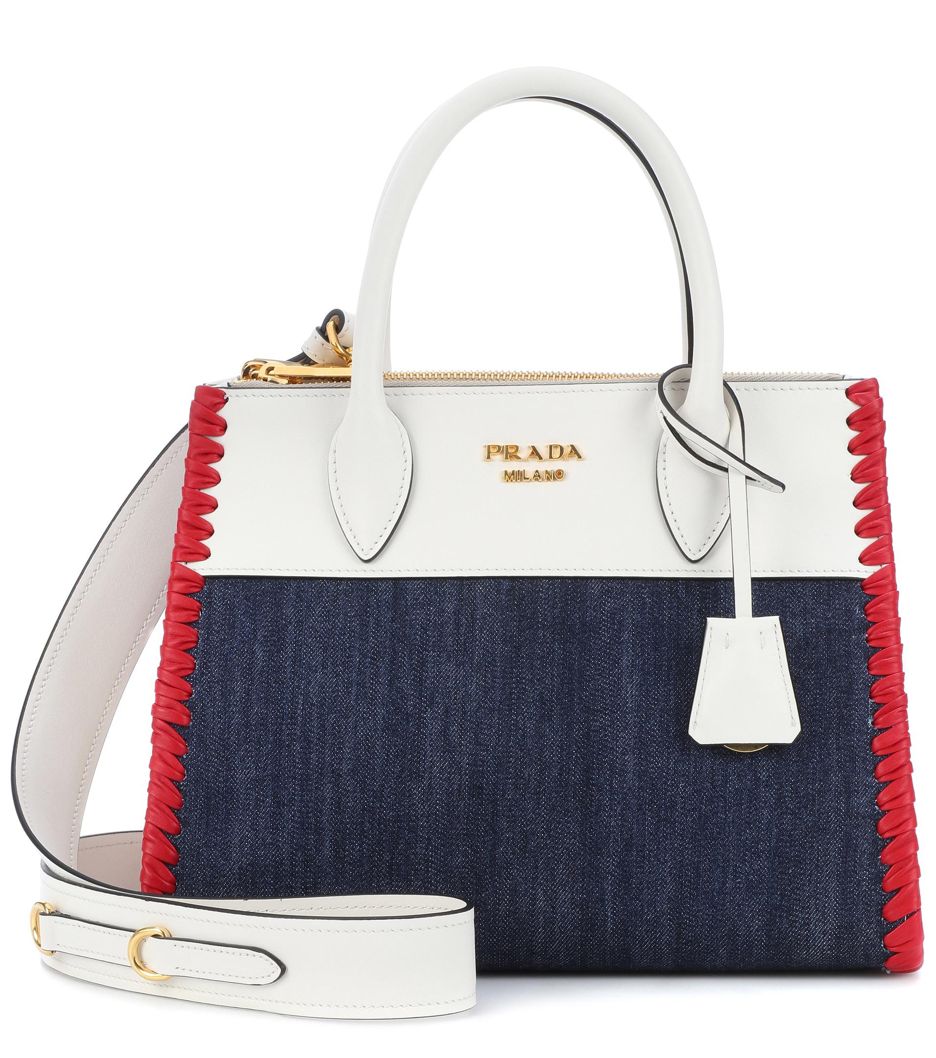 e7e2ef683f0067 Lyst - Prada Paradigme Leather And Denim Handbag in White