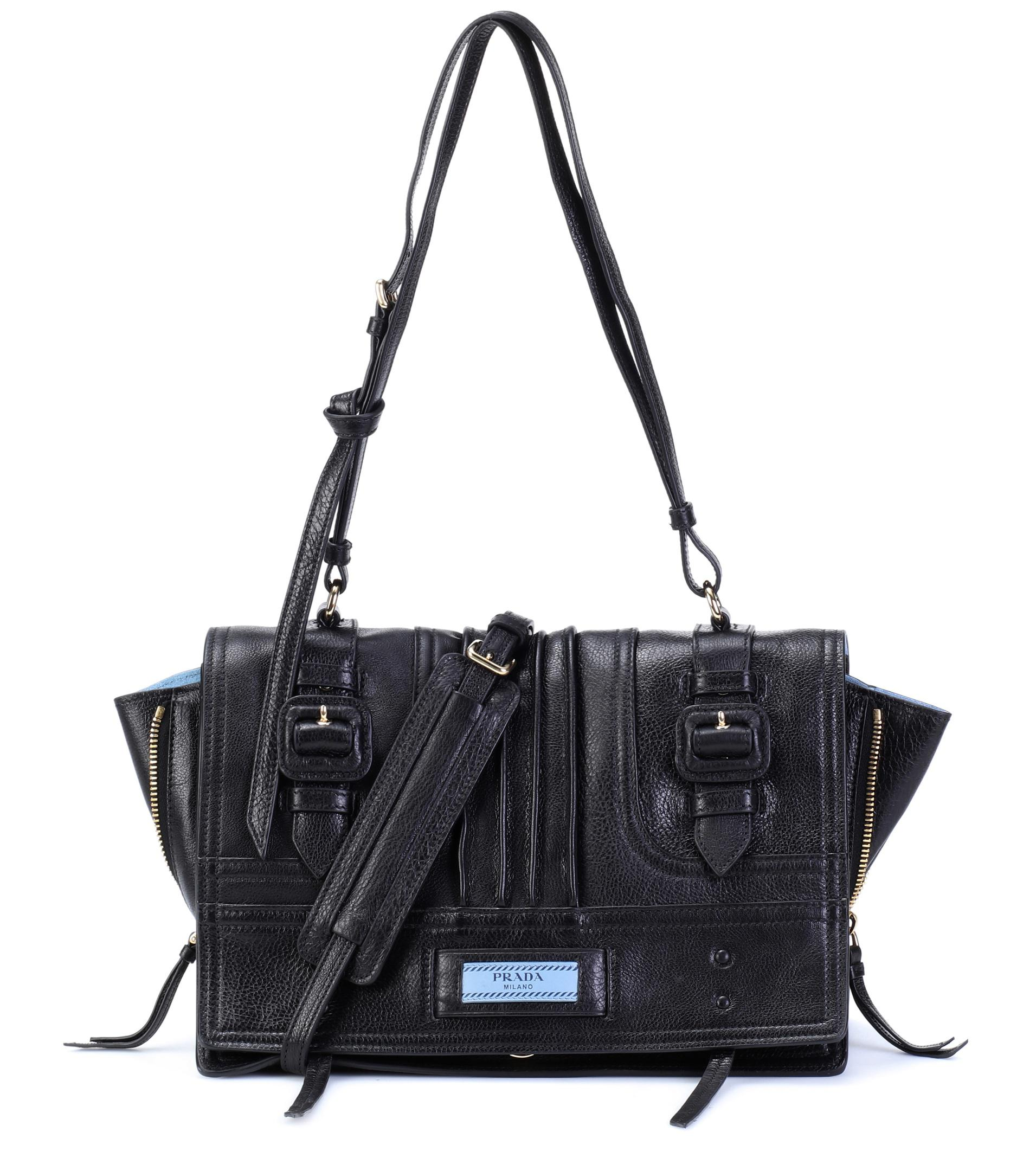 1686e20adf8c ... shopping lyst prada etiquette leather shoulder bag in black 75d15 18378  ...