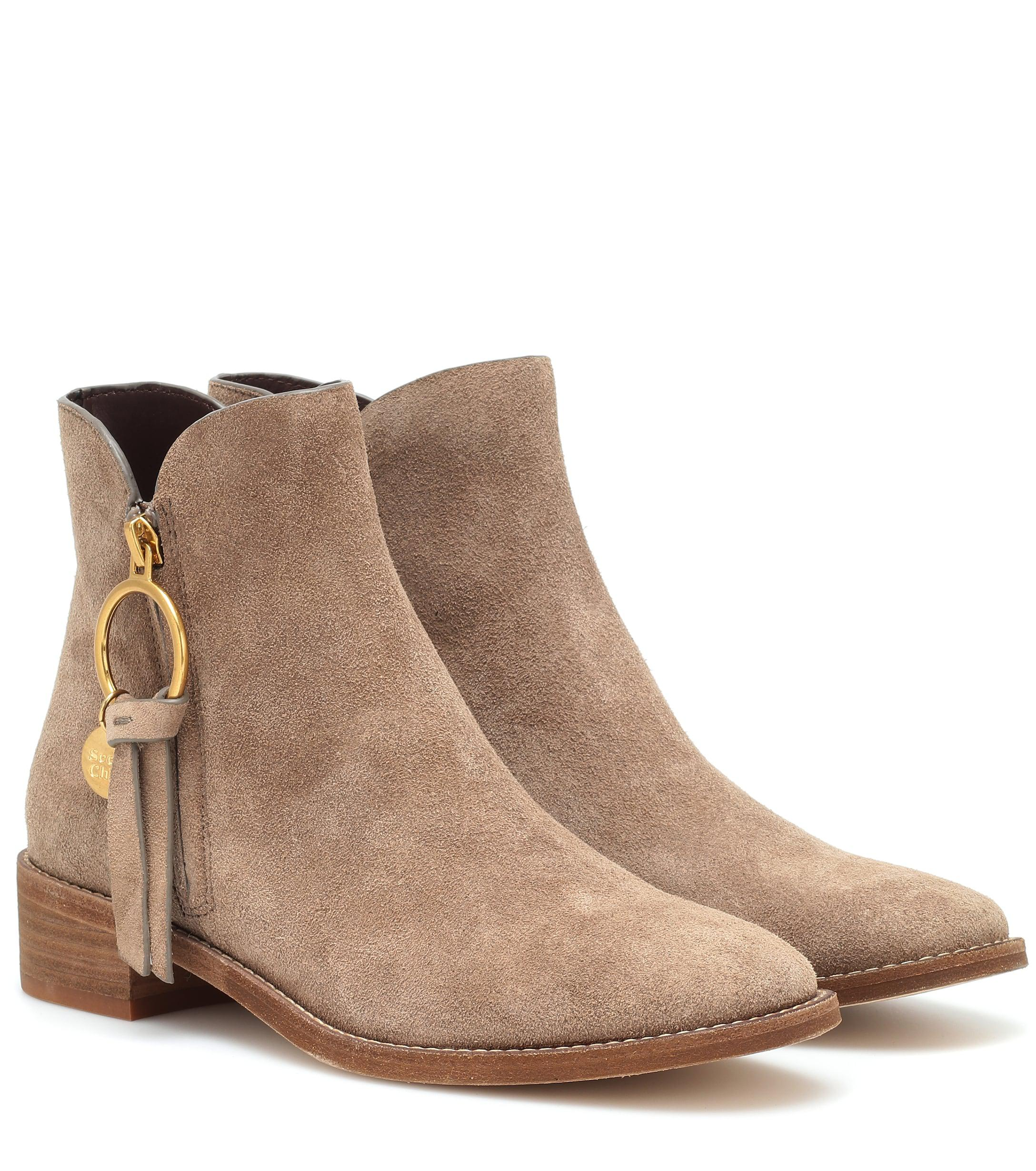 c72b59a450b29 Lyst - See By Chloé Louise Flat Suede Ankle Boots in Brown
