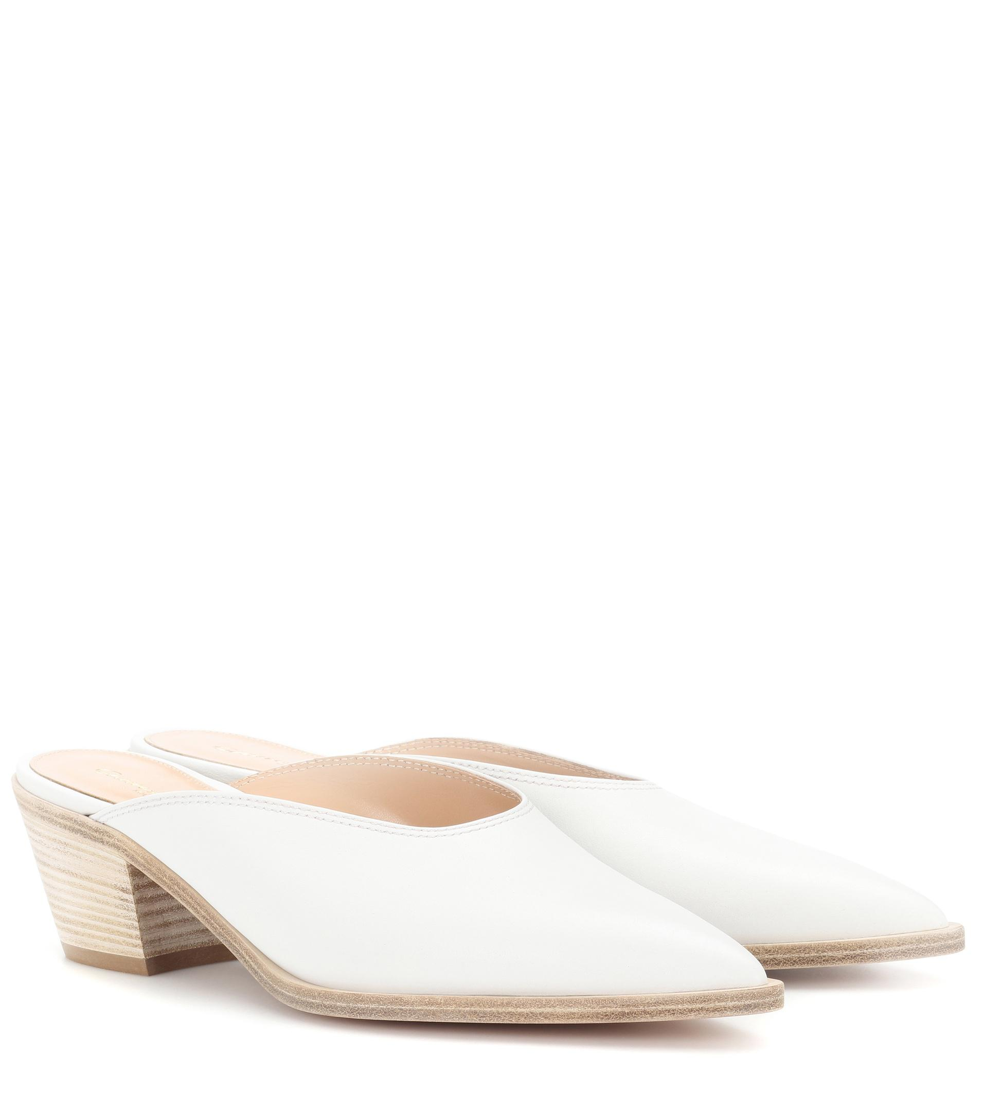 49dae130a Lyst - Gianvito Rossi Leather Block-heel Mules in White