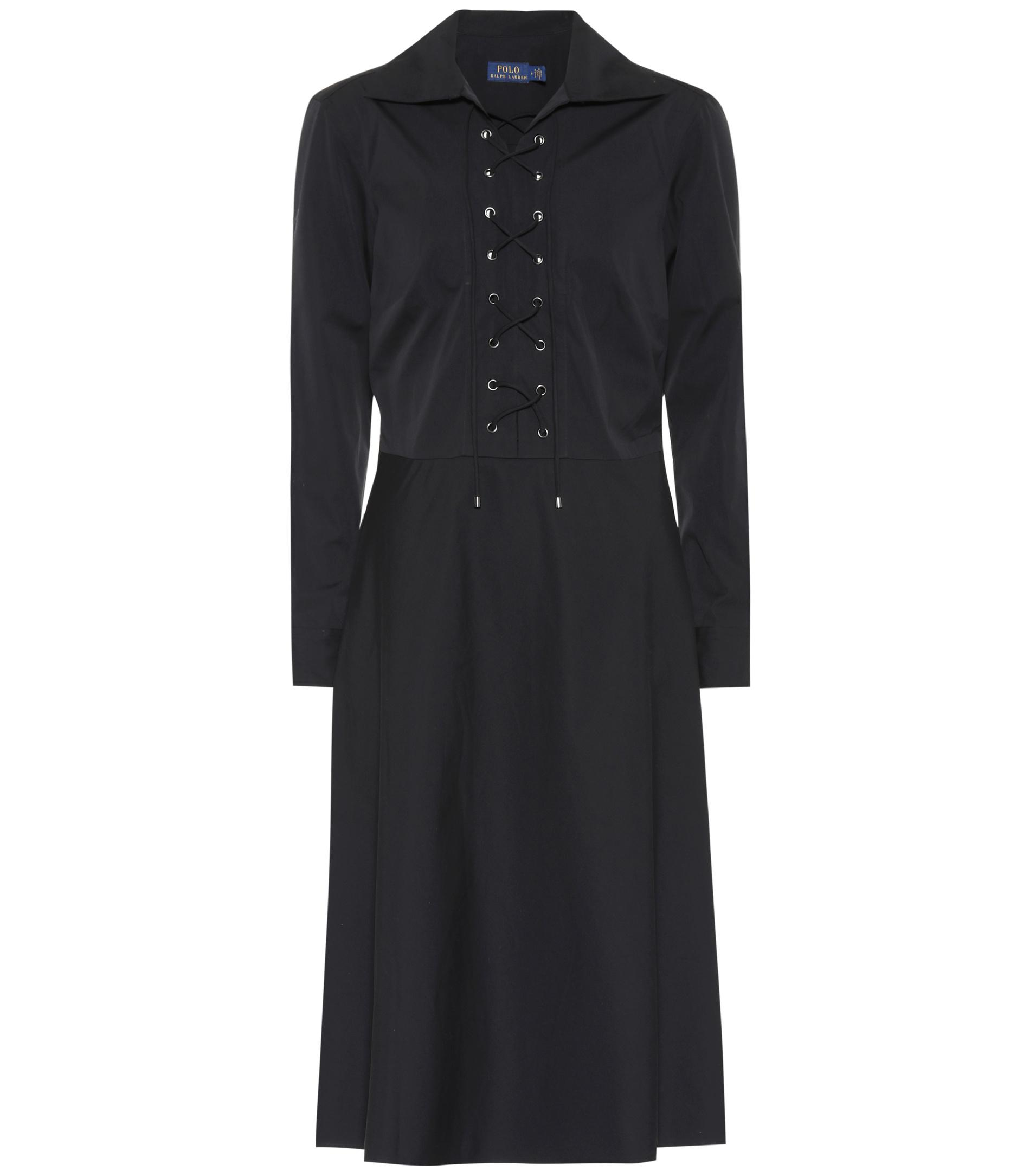 Polo Ralph Lauren. Women\u0027s Black Cotton Lace-up Dress