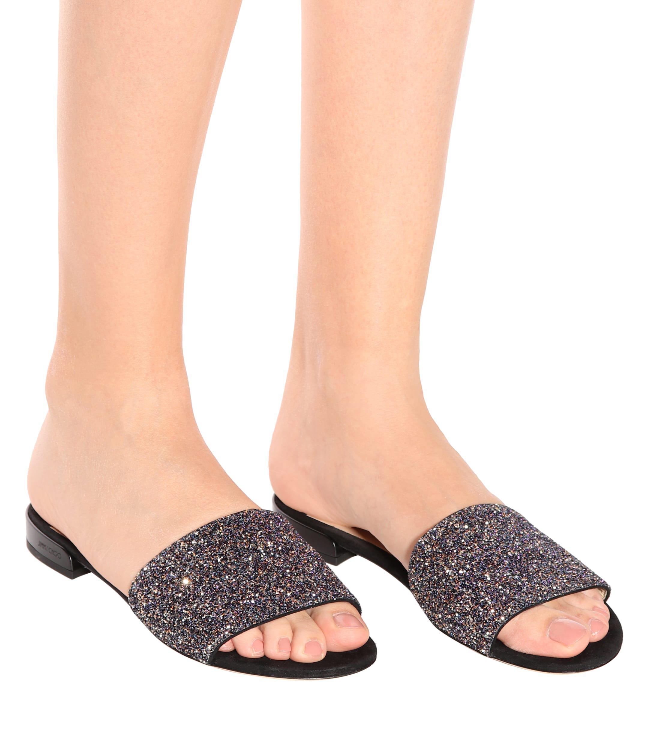 0096a6a00936 Jimmy Choo - Multicolor Joni Flat Leather And Glitter Sandals - Lyst. View  fullscreen