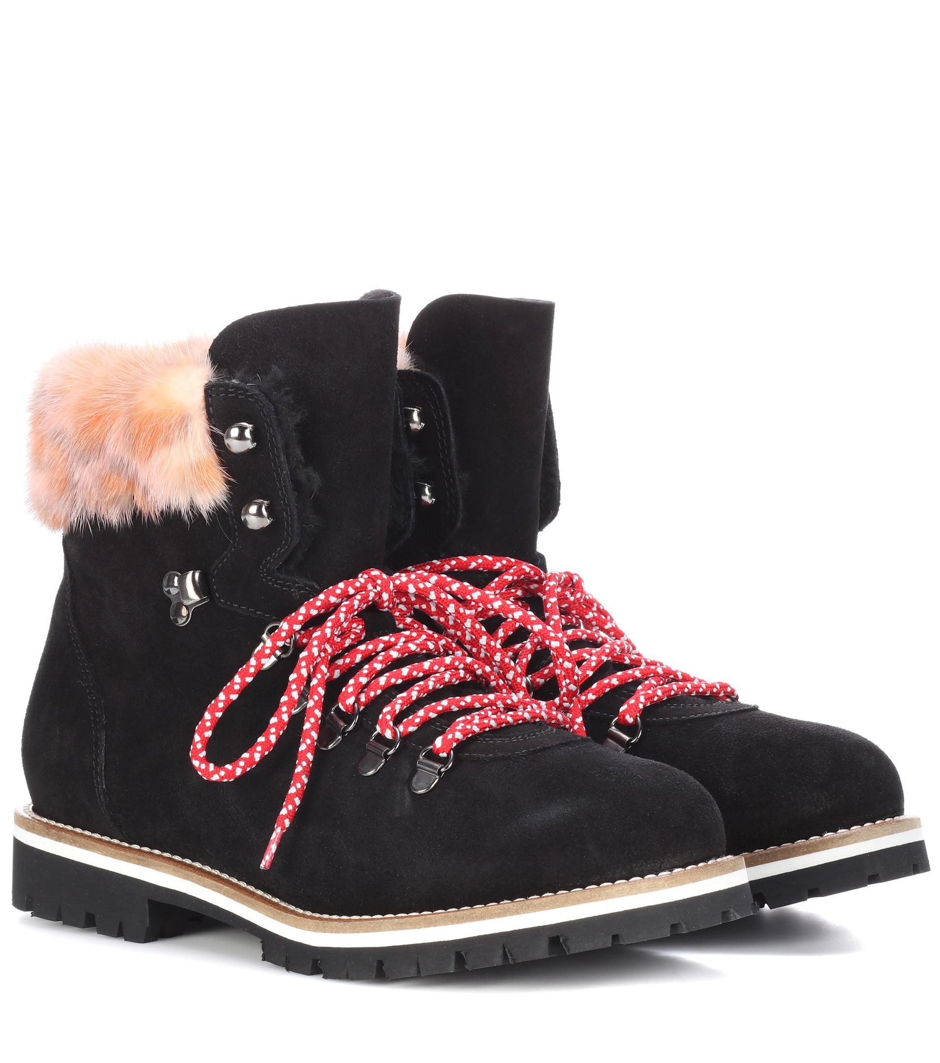Mr & Mrs Italy Fur-Lined Velvet & Leather Ankle Boots from china free shipping marketable online cheap sale shop for dYU2mL