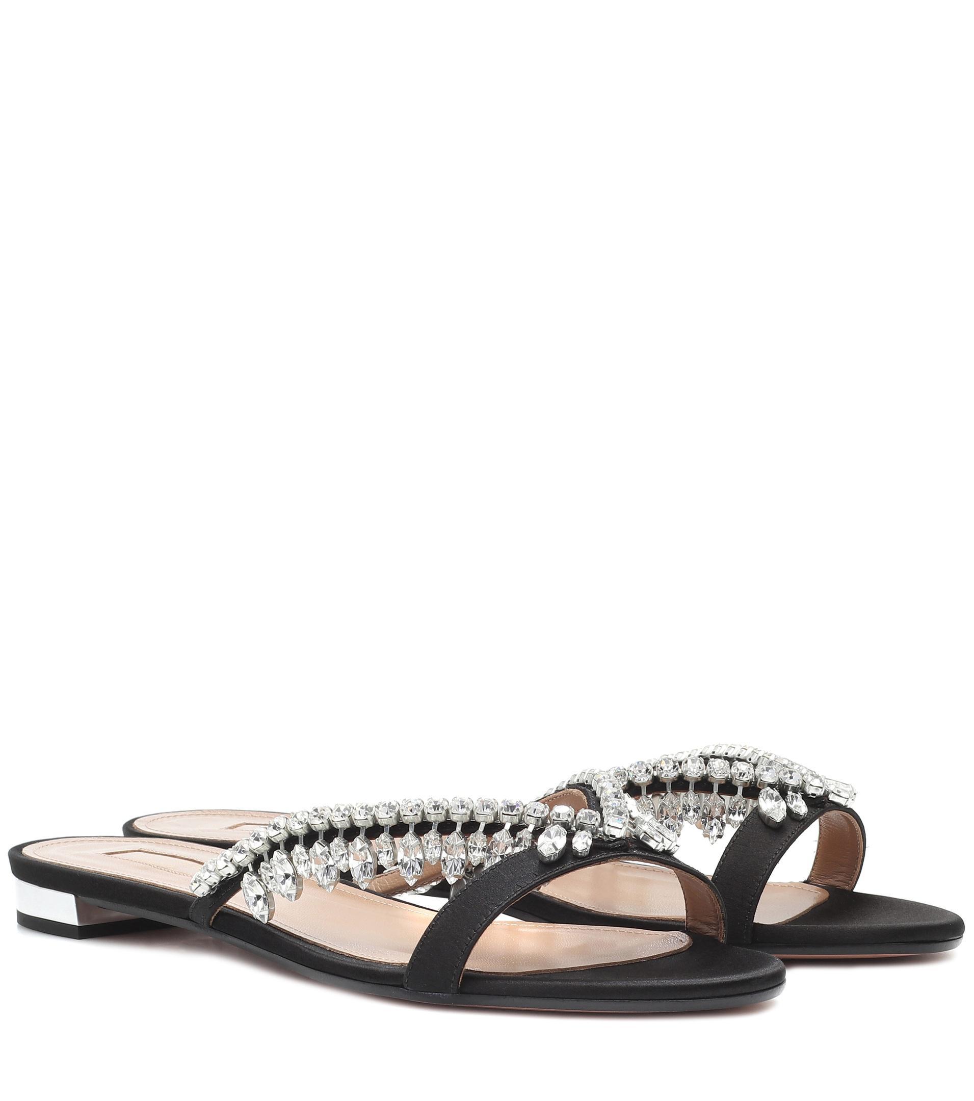 fa390568c Lyst - Aquazzura Gem Palace Satin Sandals in Black