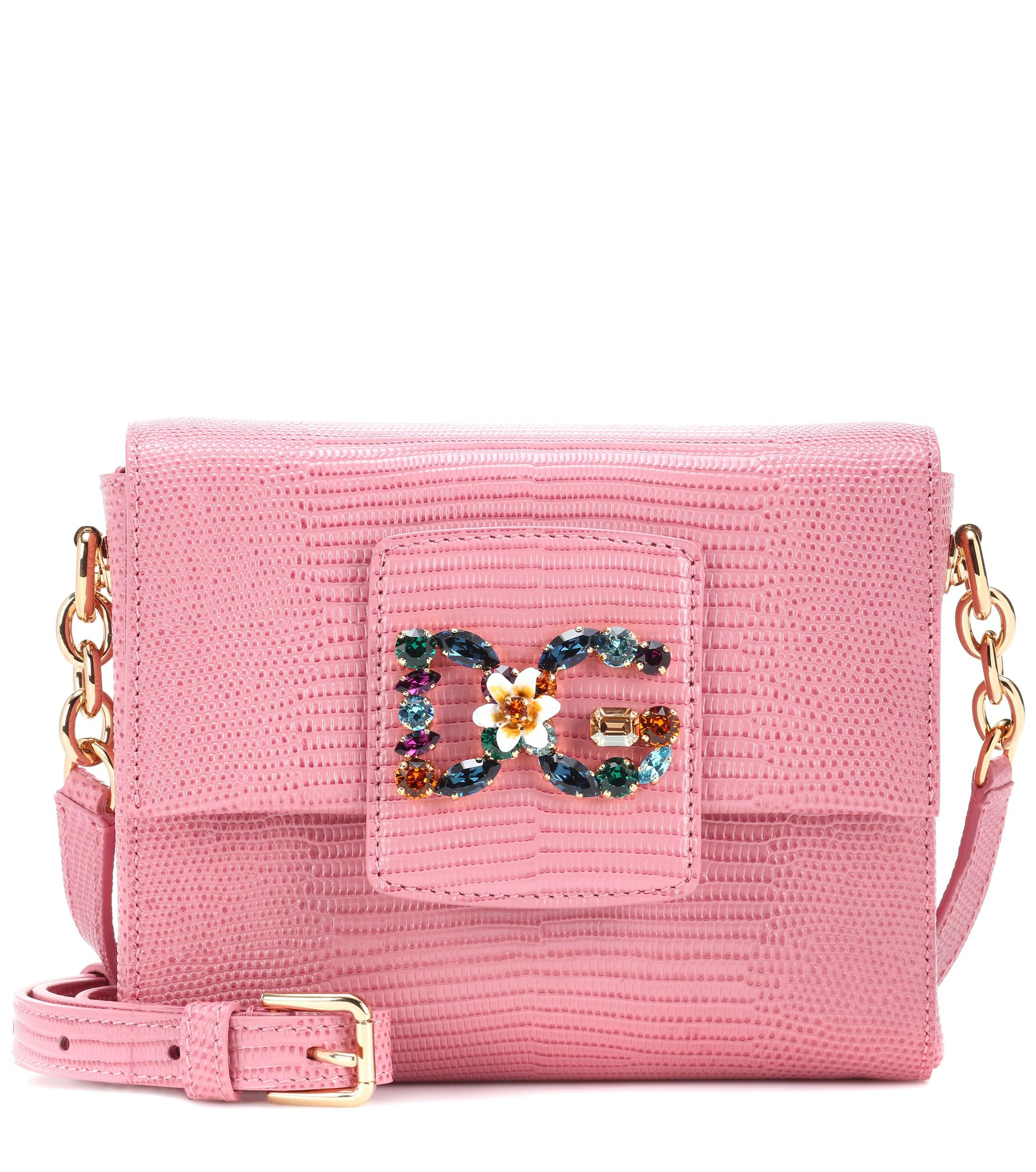 421a68ac1915 Lyst - Dolce   Gabbana Dg Millennials Mini Leather Shoulder Bag in Pink