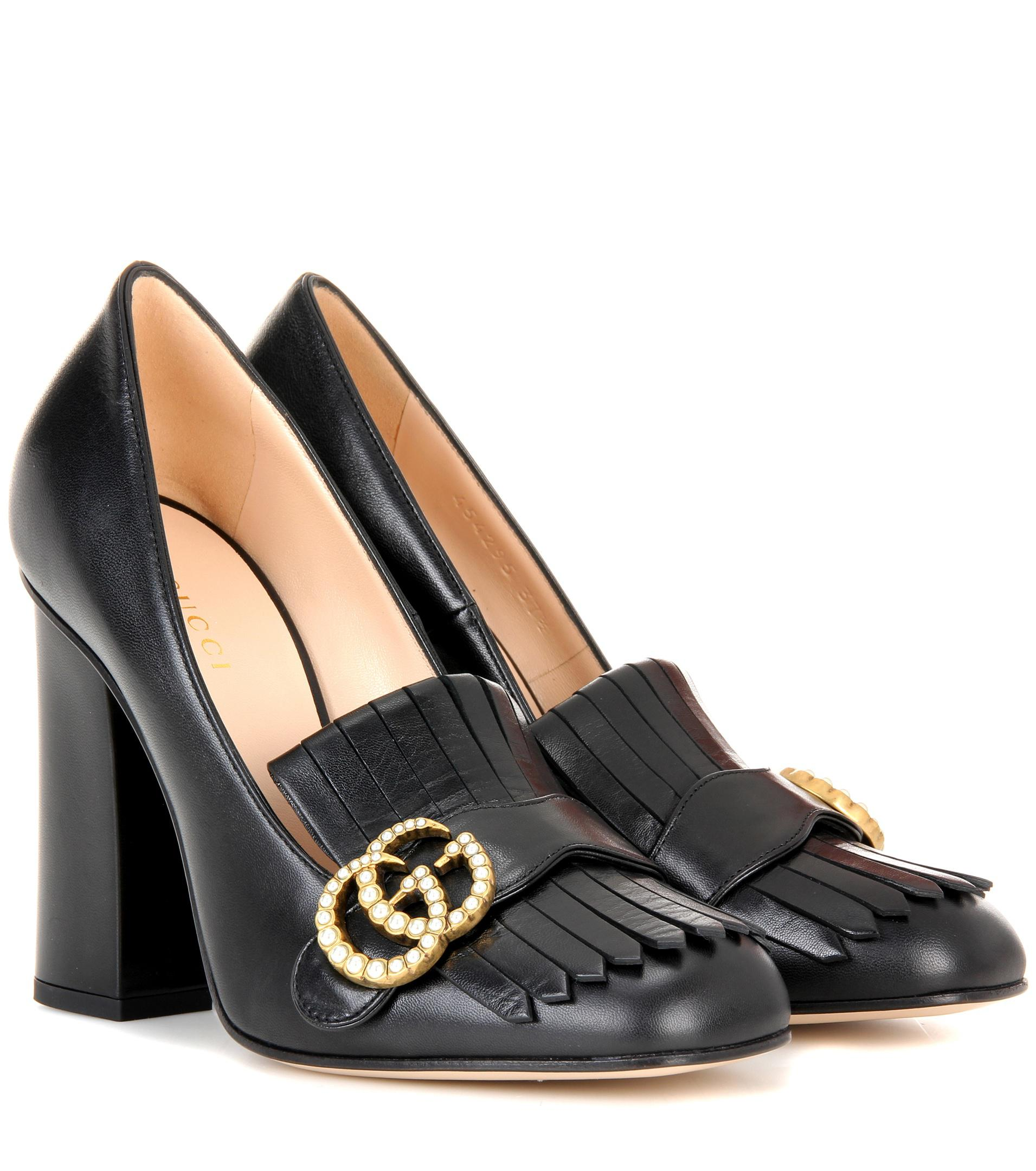 21806b56a73d2 Gucci Leather Loafer Pumps in Black - Lyst